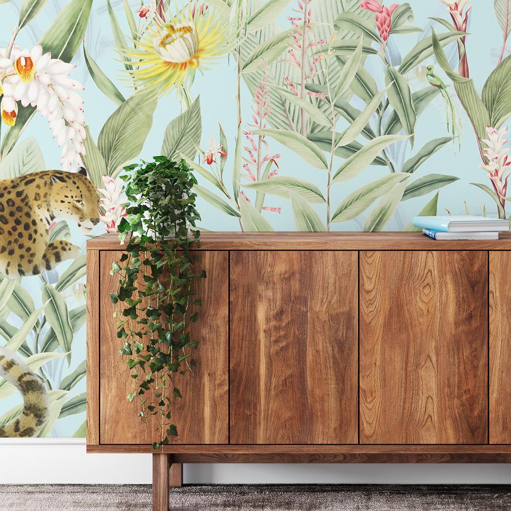 Papier peint panoramique motifs fleurs jardin tropical ciel 255x260cm