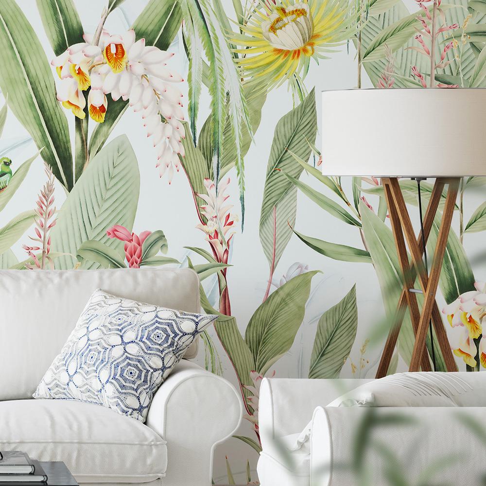Papier peint panoramique motifs fleurs jardin tropical blanc 425x260cm