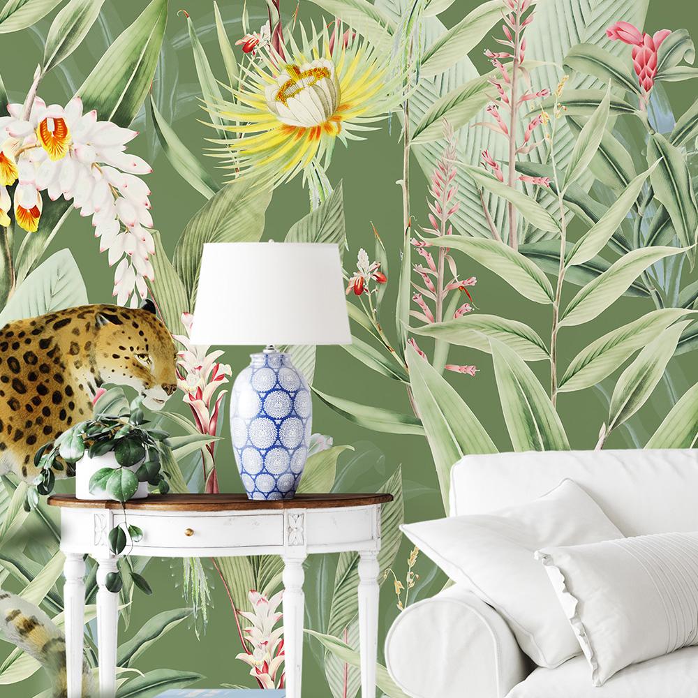 Papier peint panoramique motifs fleurs jardin tropical vert 425x260cm