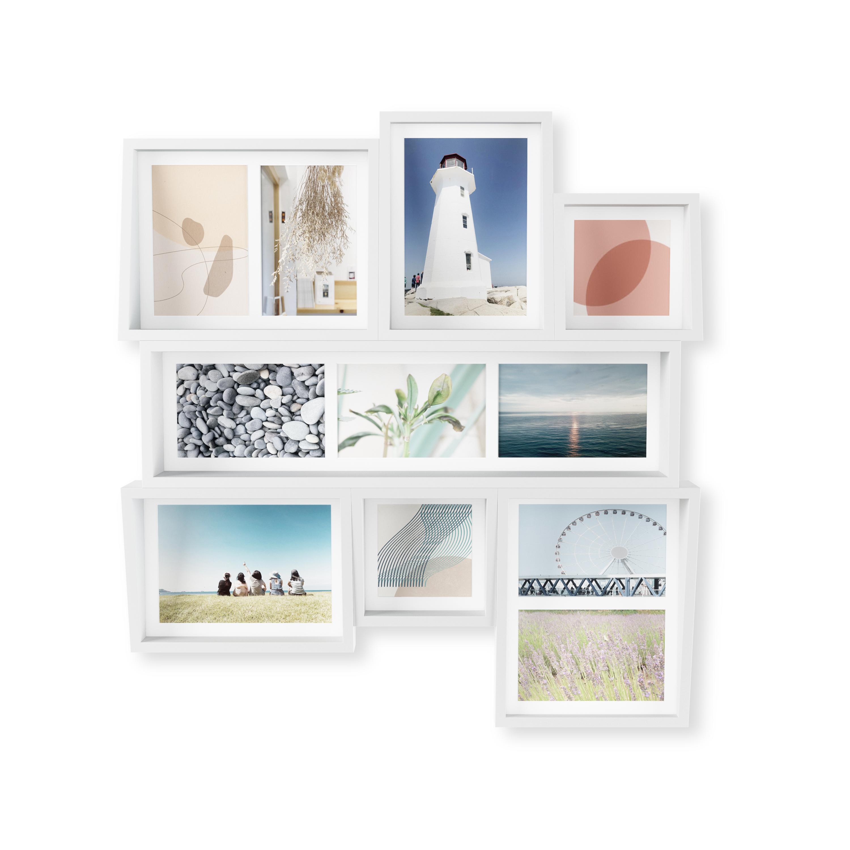 Cadre mural multivues 9 photos bois blanc