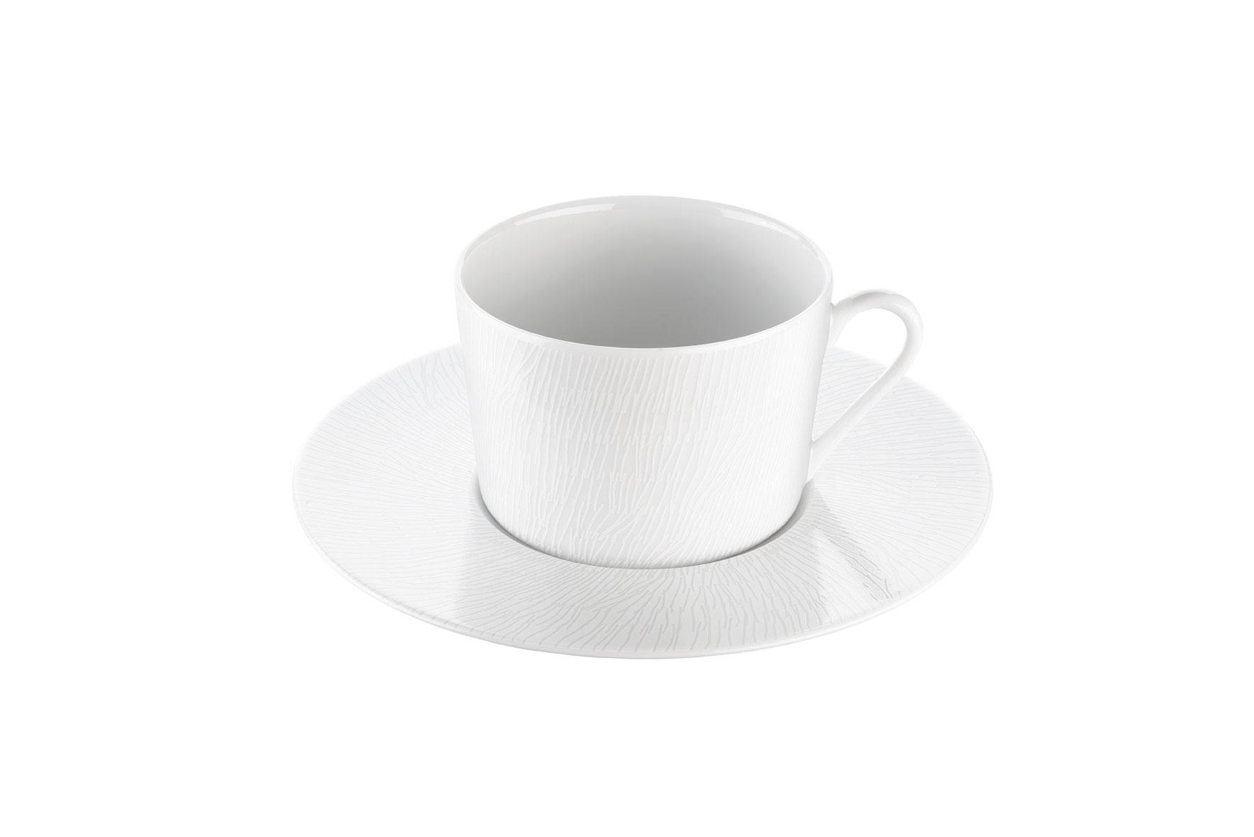 Tasse et sous tasse thé en porcelaine décorée 22 cl - Lot de 6