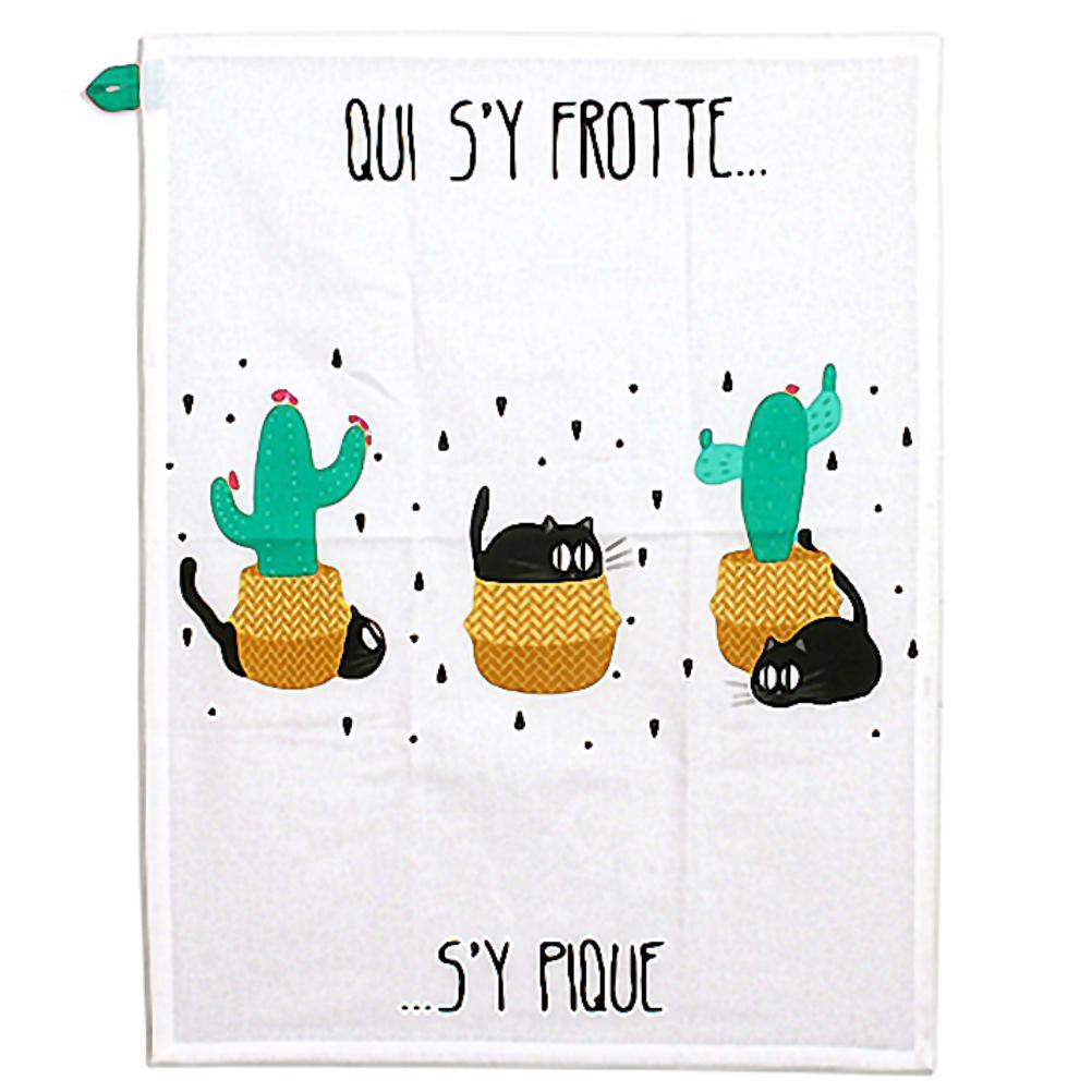 Essuie main chats cactus en coton 45x60