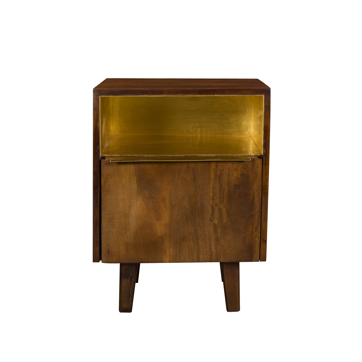 Table de chevet en bois et métal, 1 tiroir et 1 porte