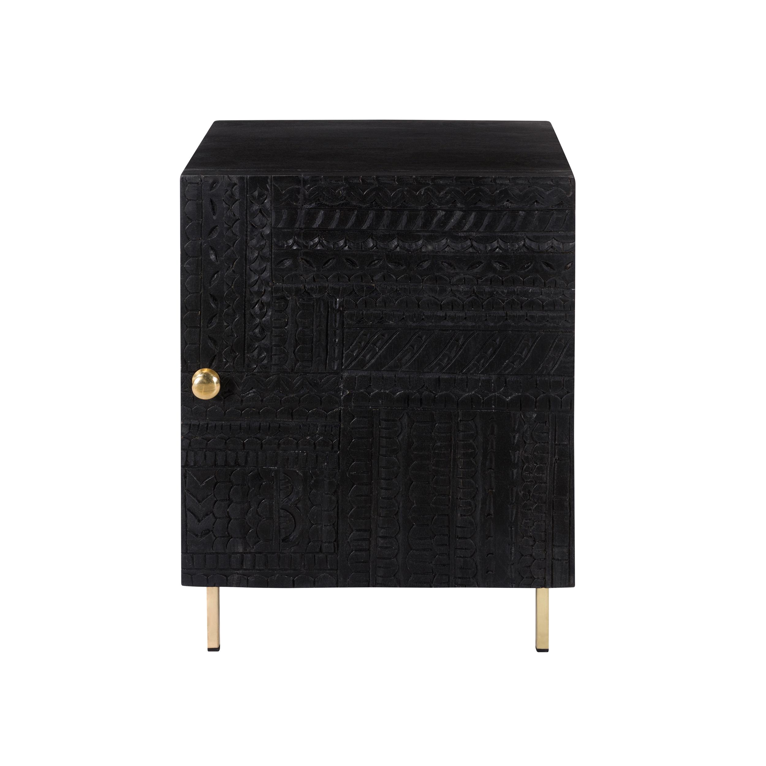 Chevet 1 porte en bois gravé noir et métal doré