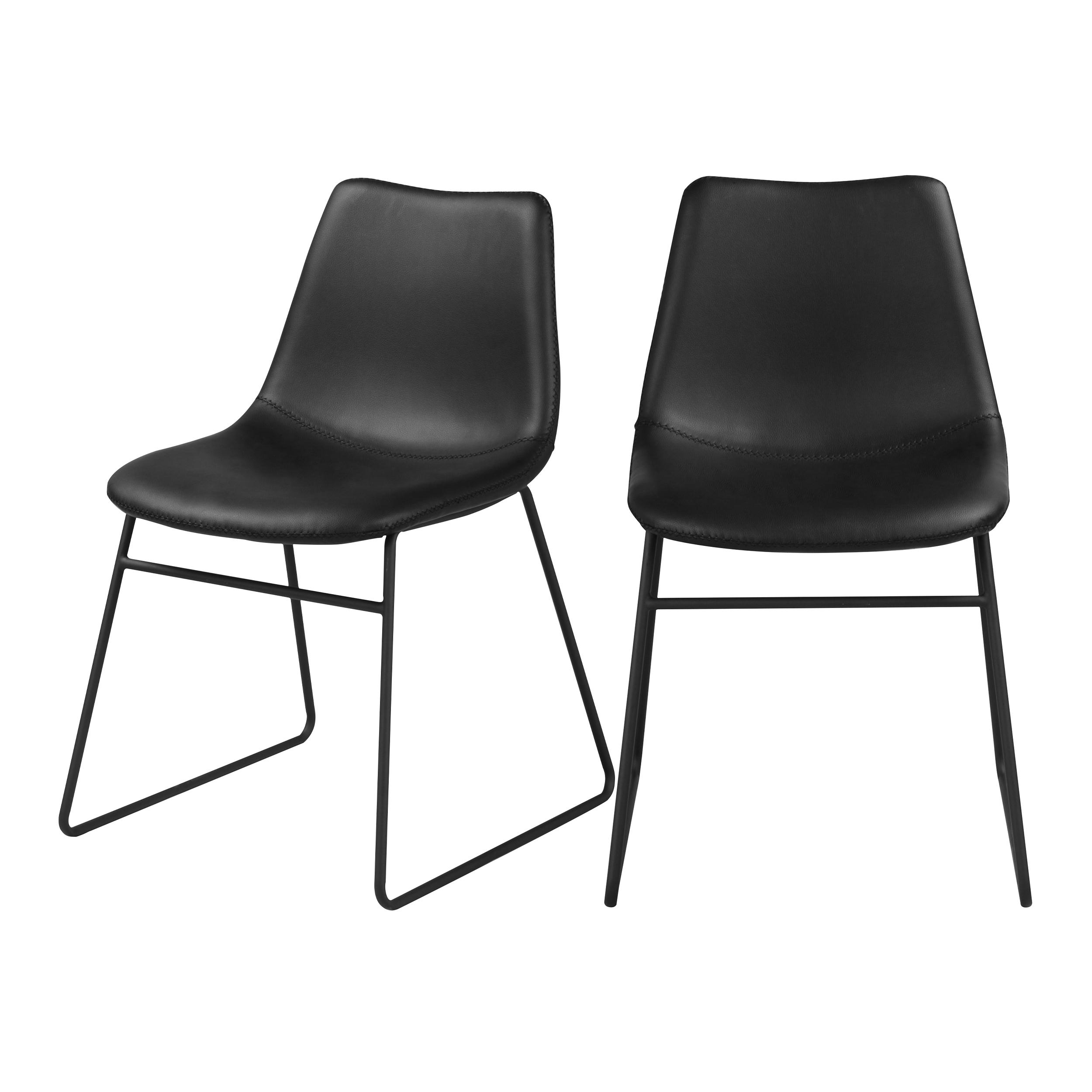 Chaise en cuir synthétique noir (lot de 2)