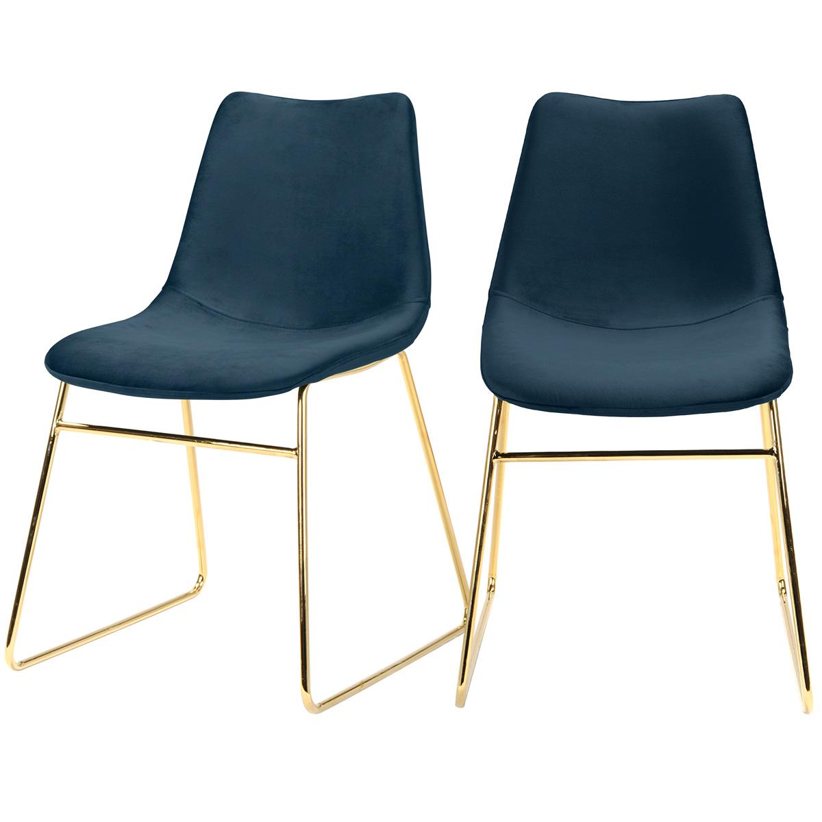 Chaise en velours bleu foncé (lot de 2)