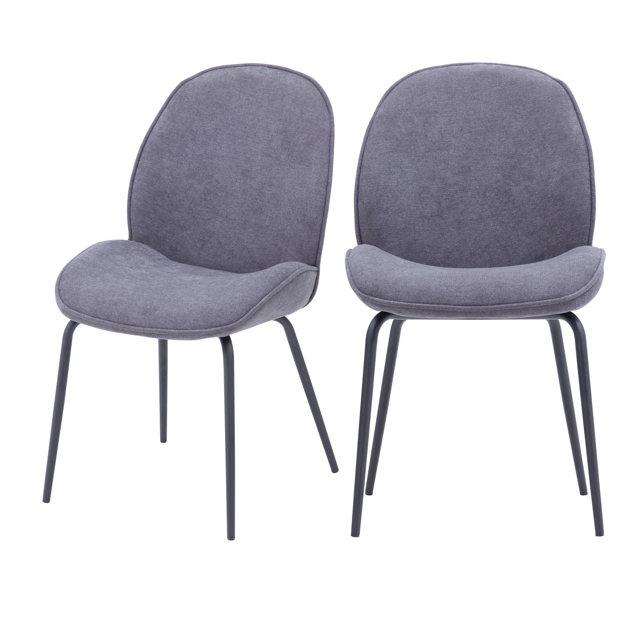 maison du monde Chaise en tissu gris clair (lot de 2)