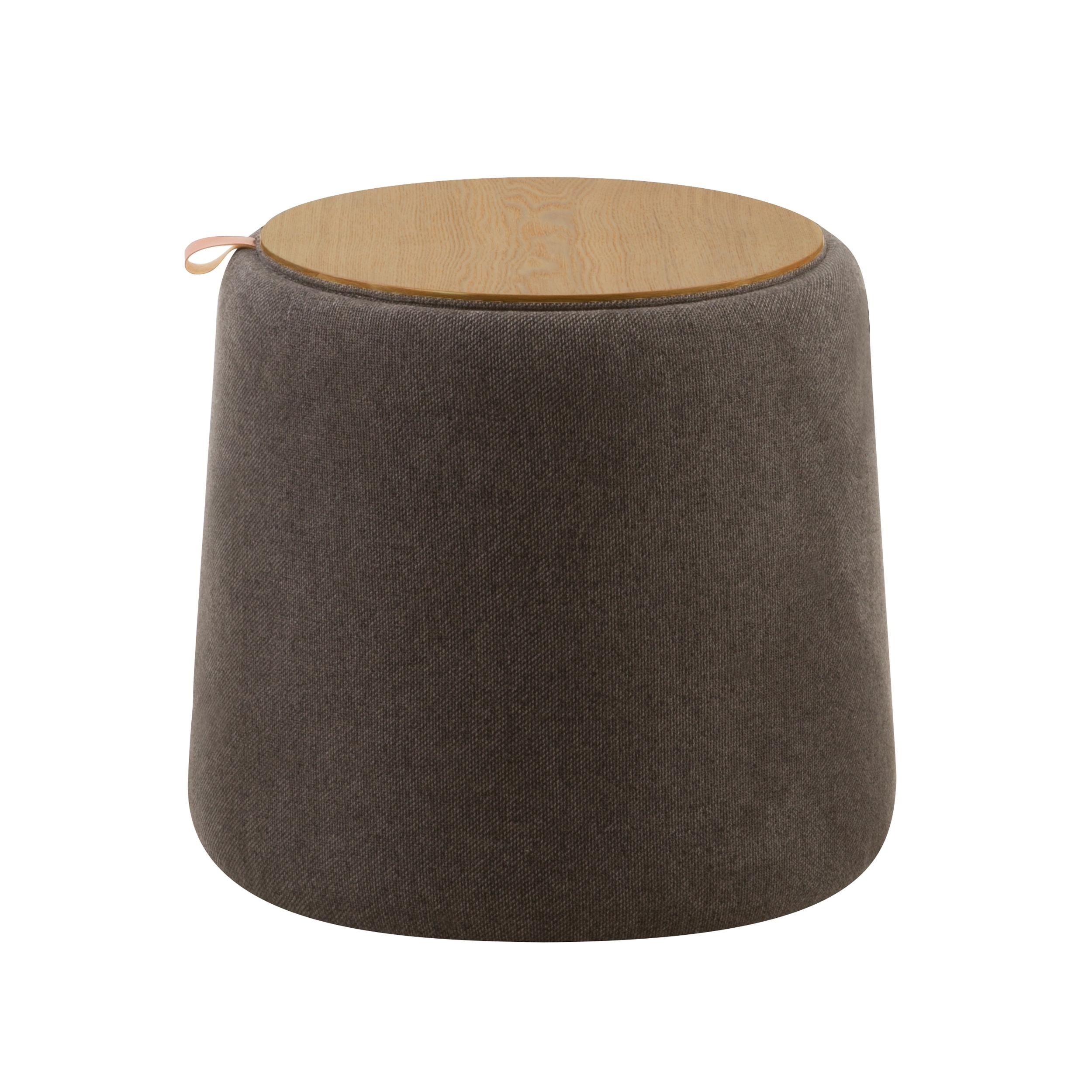 Pouf avec coffrage en tissu gris et plaqué bois