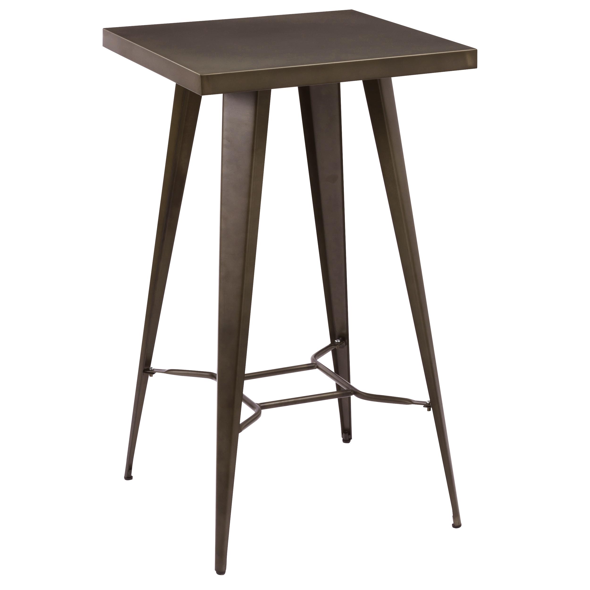 Table de bar carrée en métal gris métalisé, 2 personnes