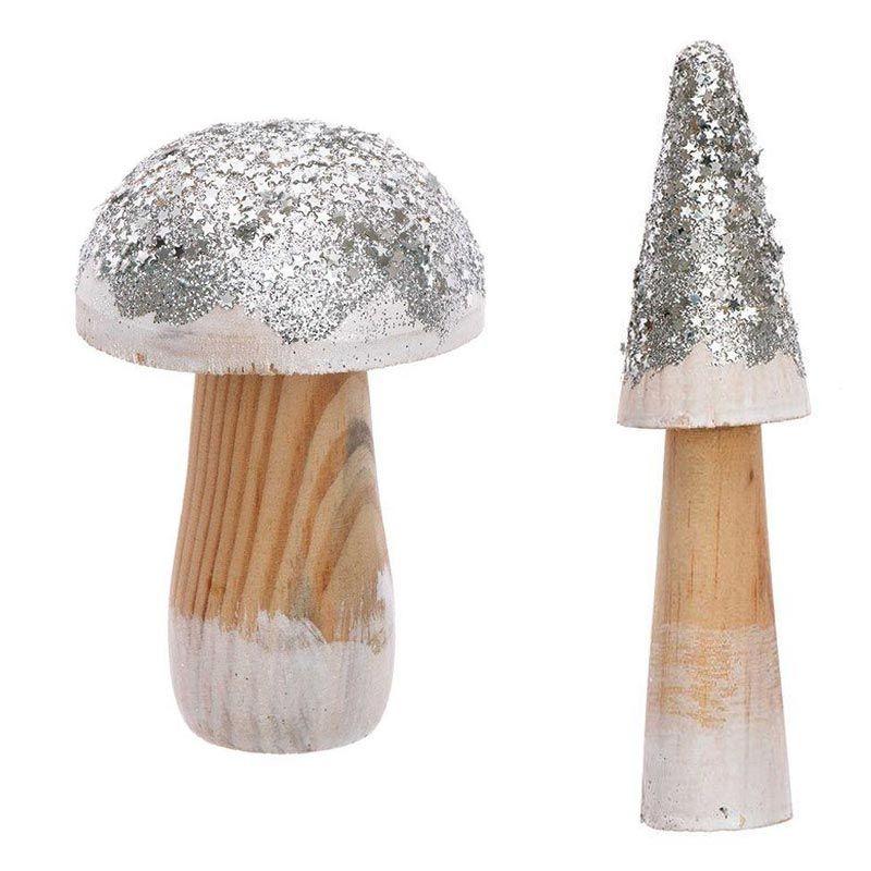 2 champignons décoratifs en bois argentés