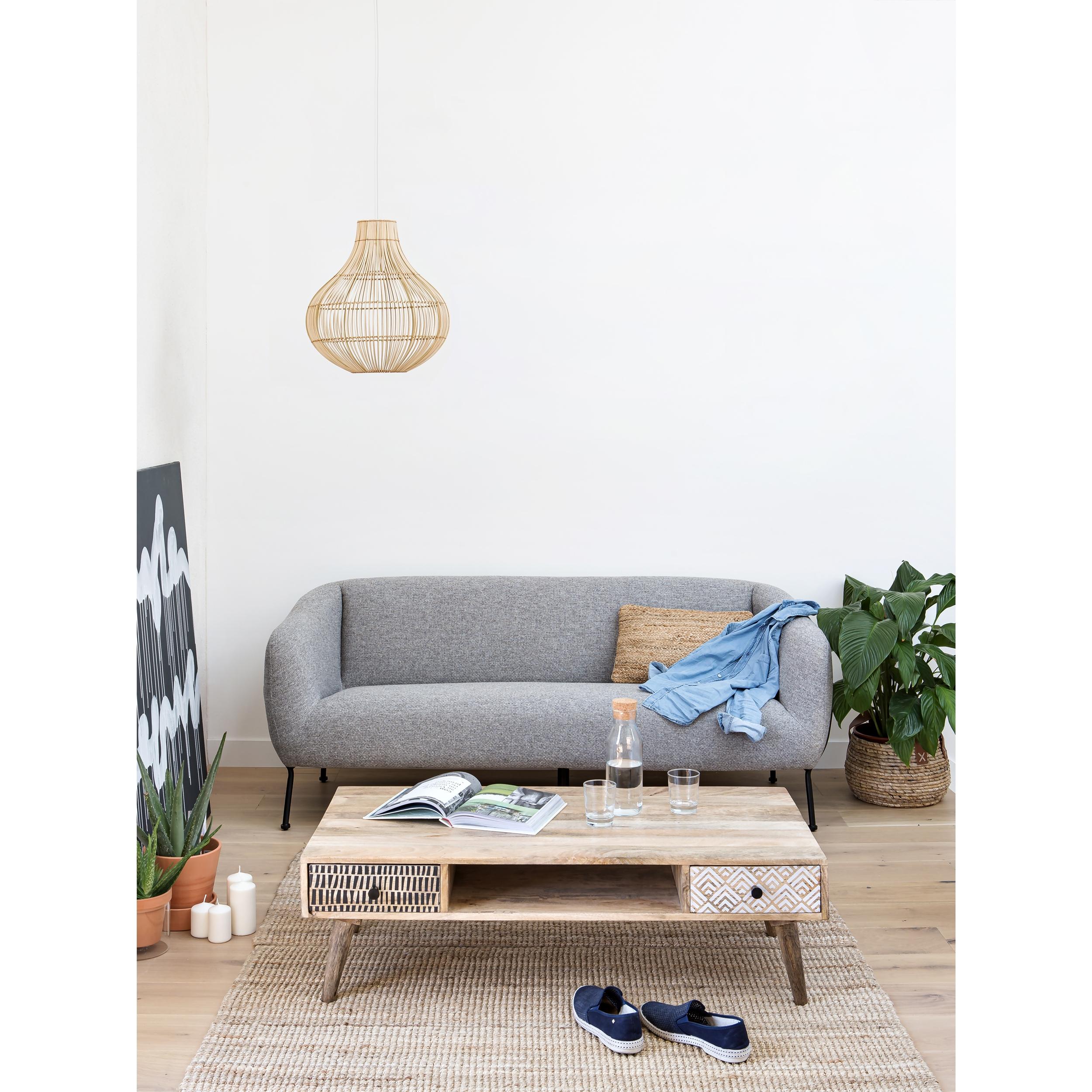 Table basse rectangulaire en bois, 2 tiroirs à motifs