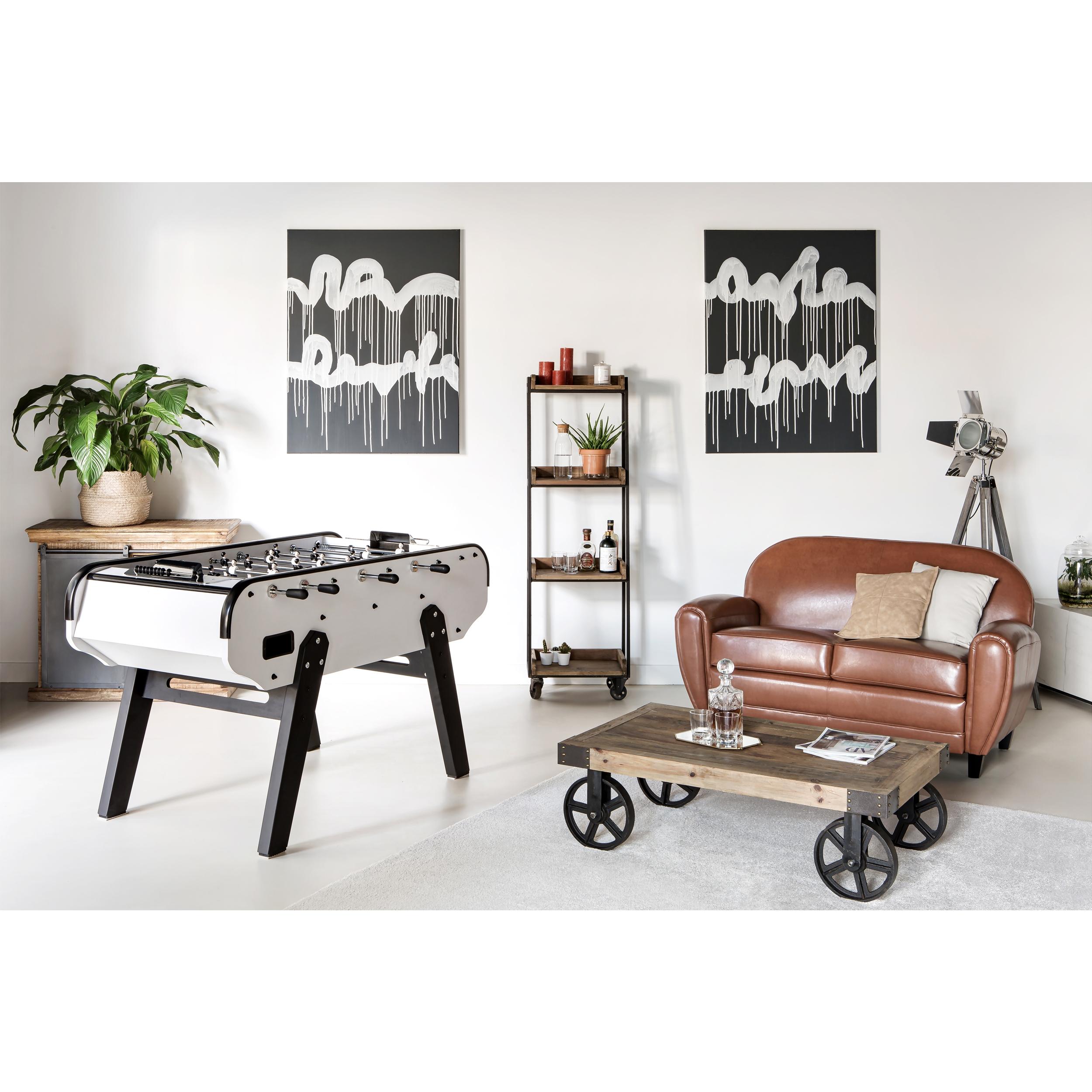 Table basse rectangulaire en bois et métal à roulettes
