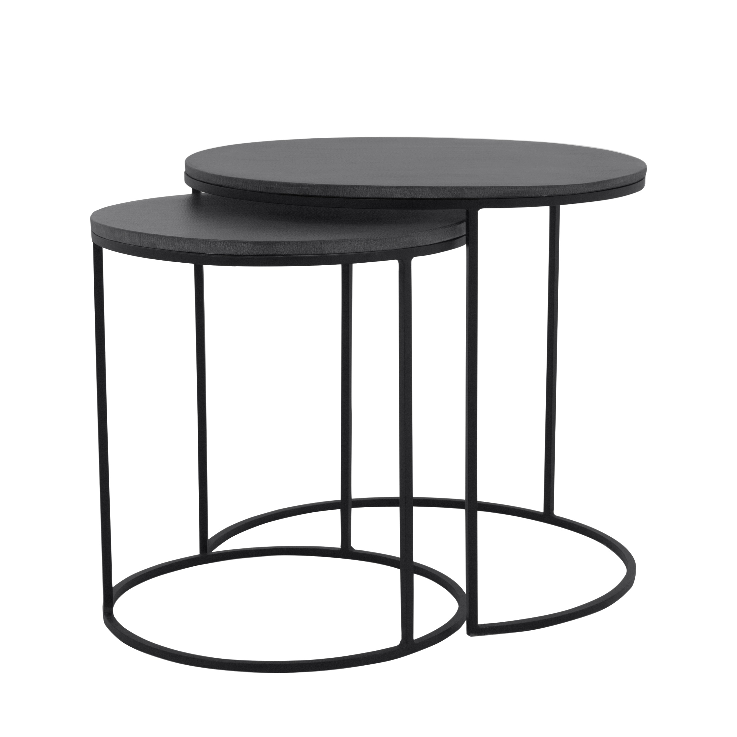 Table basse gigogne ronde en lavastone (lot de 2)
