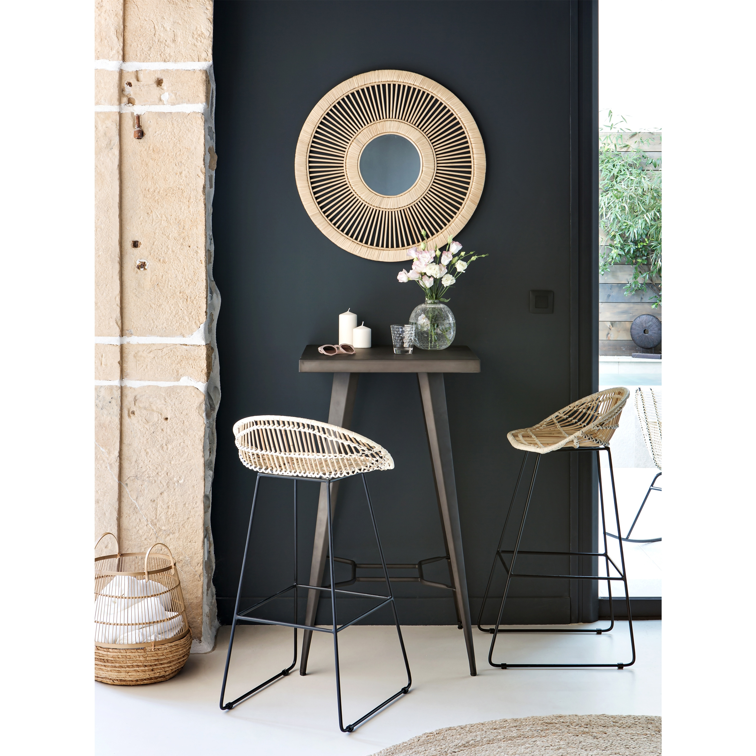 Chaise de bar 77 cm en rotin beige (lot de 2)