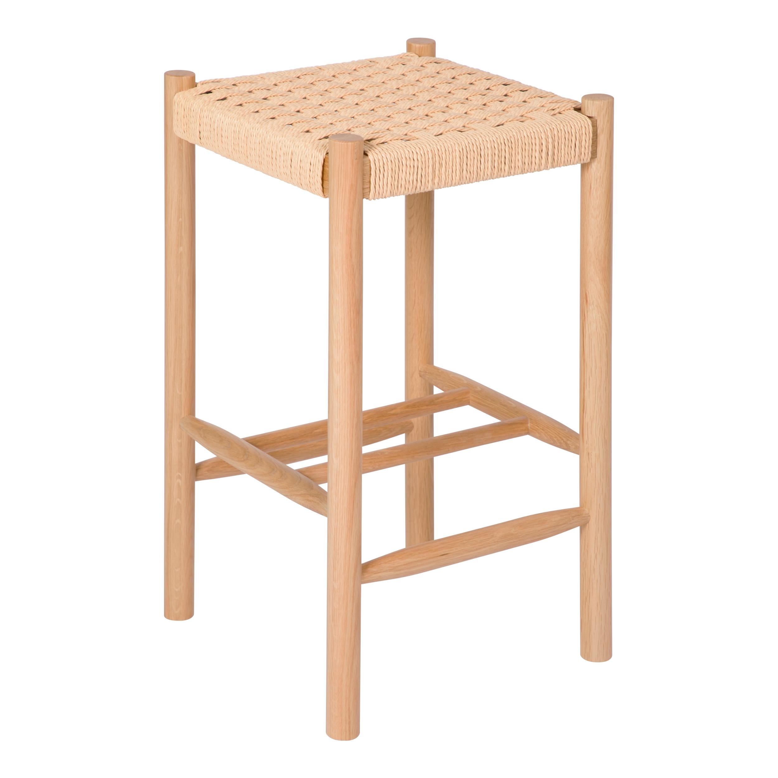 Tabouret de bar mi-hauteur 65 cm en tressage et bois