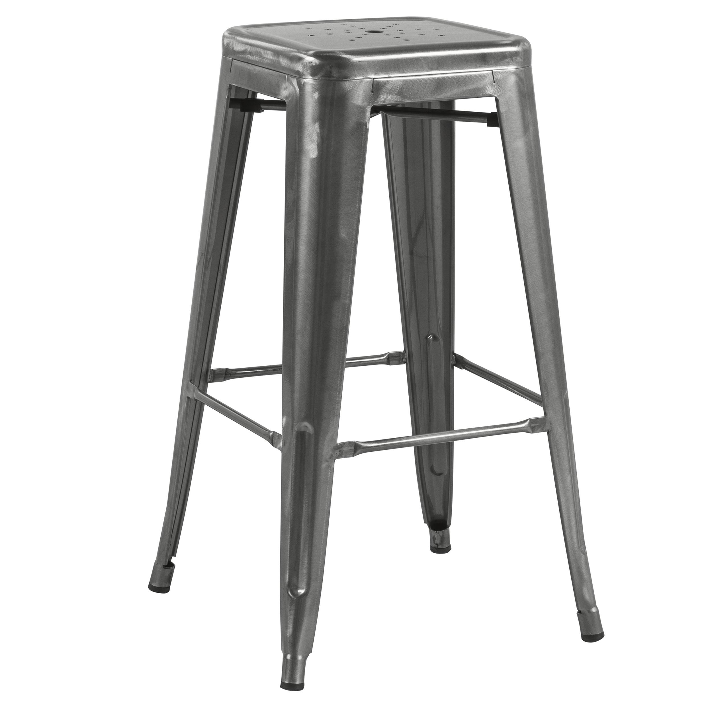 Tabouret de bar 74 cm en métal gris chrome (lot de 2)