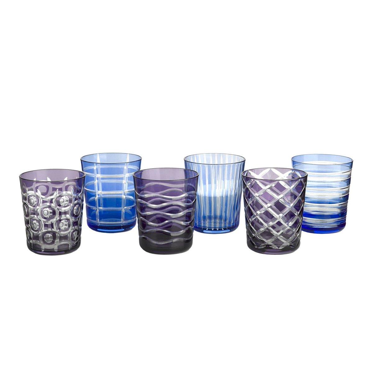 verres cristal bleu lot de 6