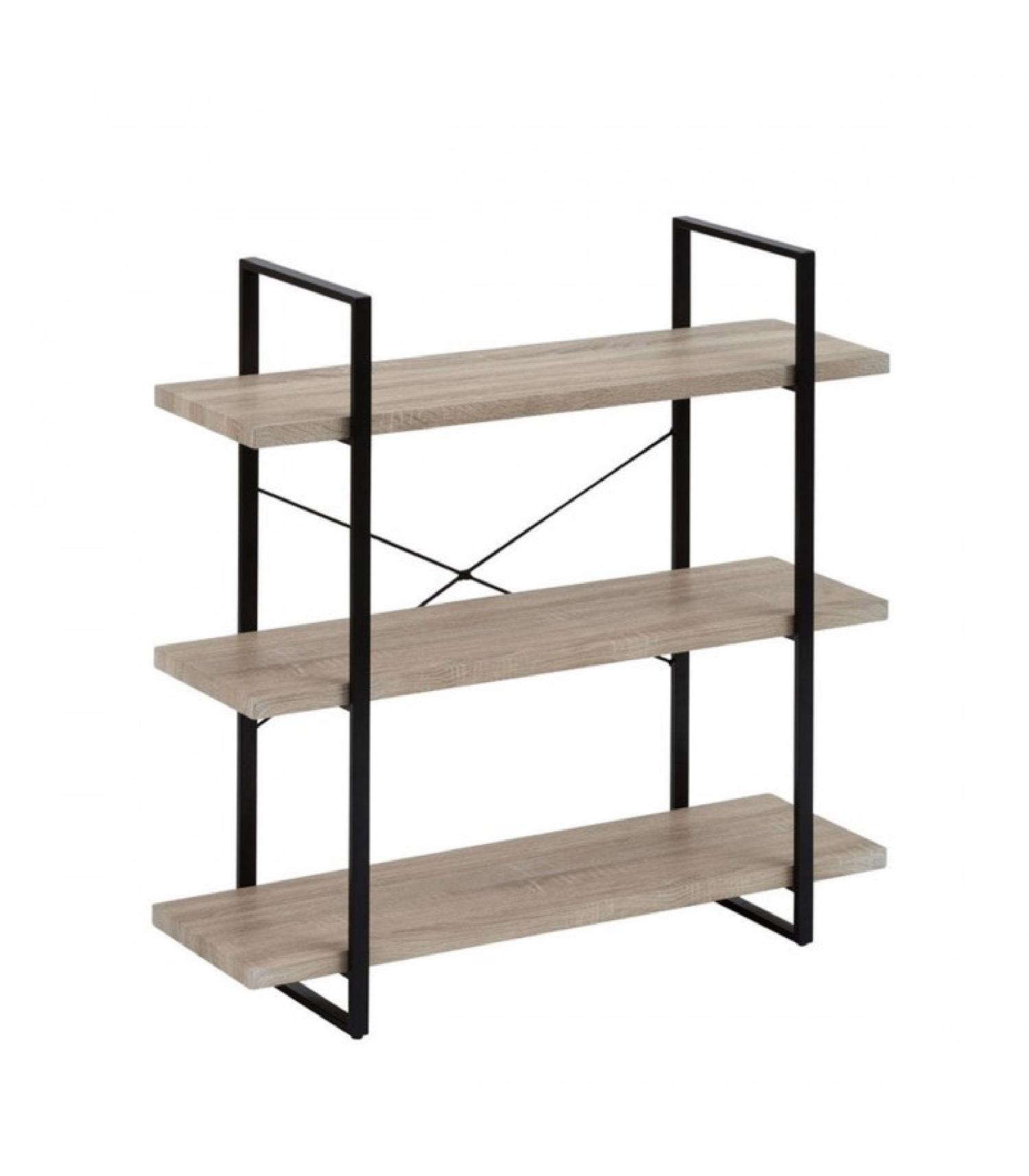 Étagère à poser en métal et PVC motif bois 3 étages
