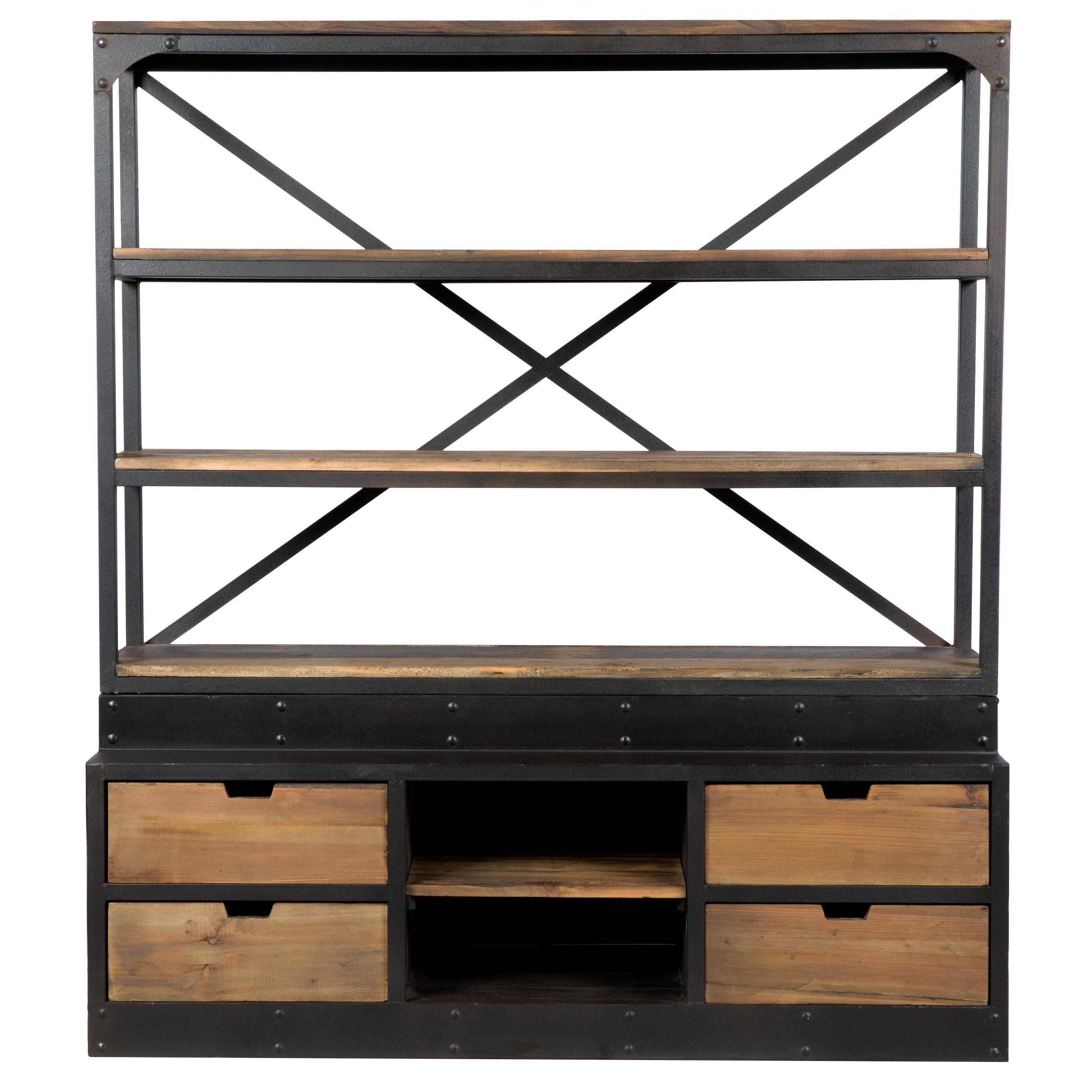 Bibliothèque 160 cm en bois et métal, 4 tiroirs