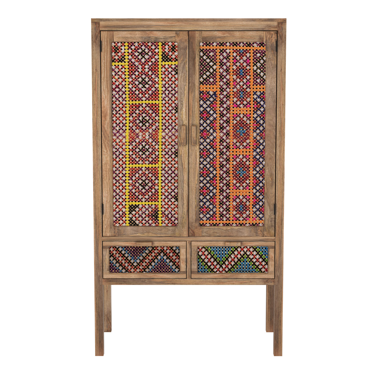 Armoire 2 portes 2 tiroirs en manguier et cannage coloré