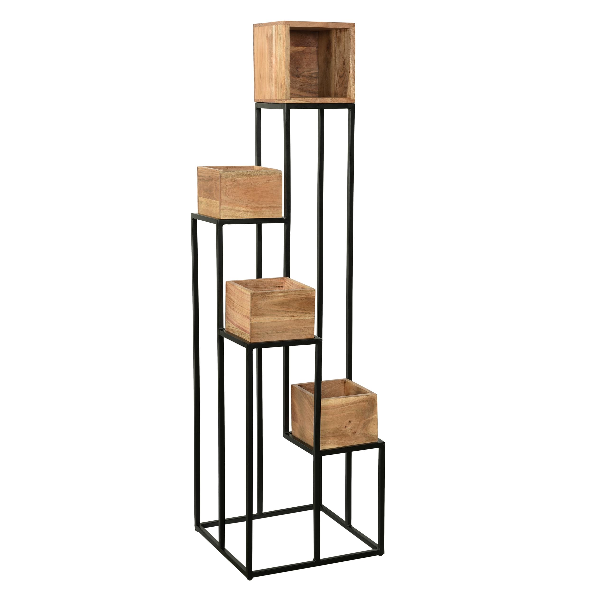Cache pot en bois d'acacia et métal