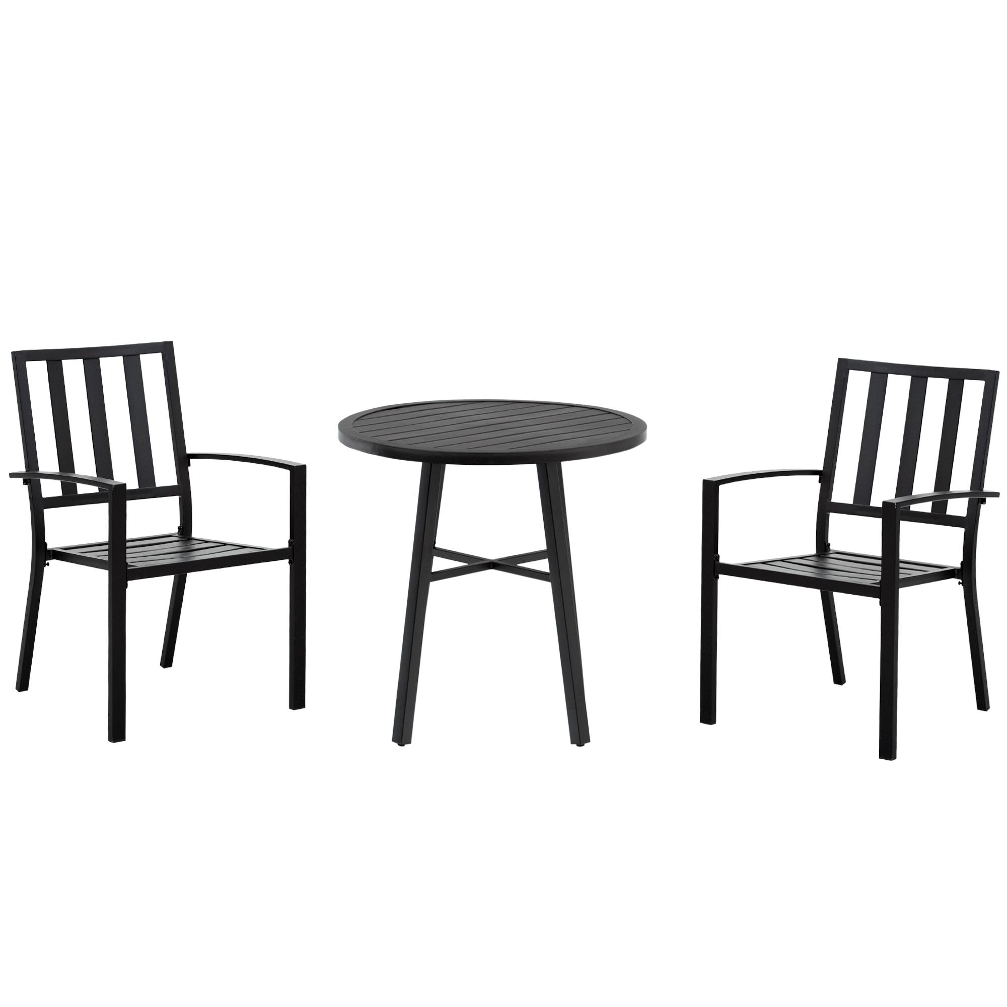 Salon de jardin 2 places 3 pièces style contemporain acier époxy noir