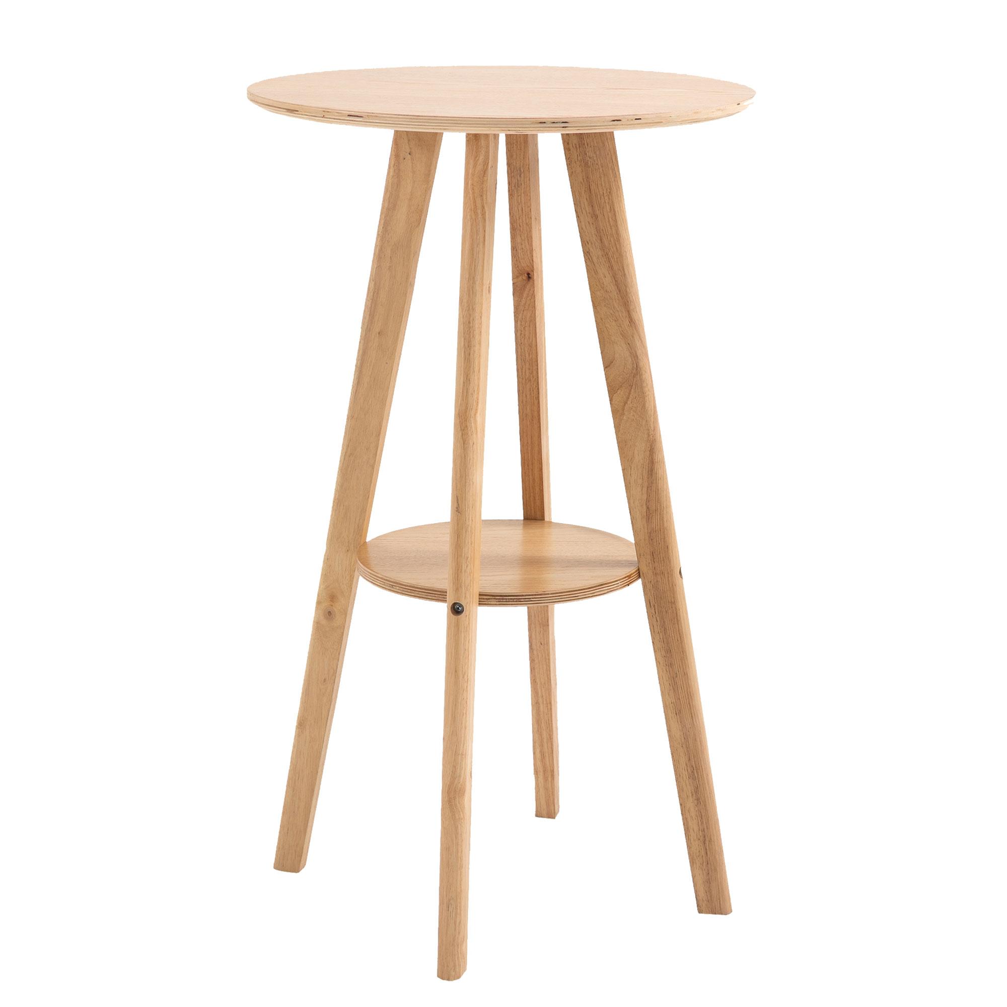 Table de bar ronde style naturel chic avec étagère eucalyptus
