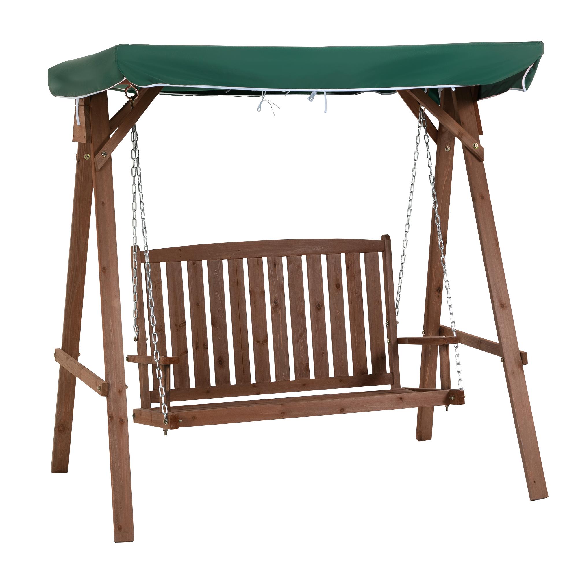 Balancelle de jardin 2 places avec pare-soleil vert
