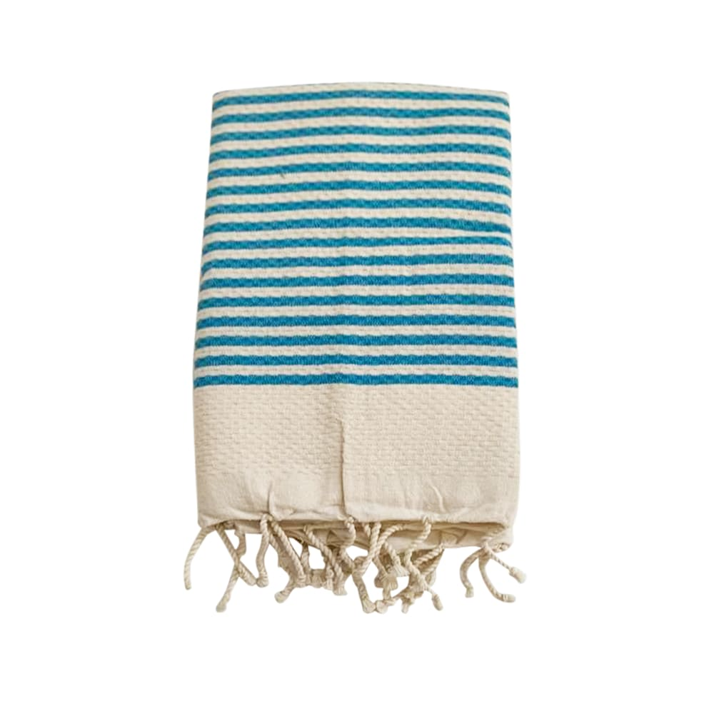 Fouta rayée traditionnelle turquoise yadara bleue 100 x 200