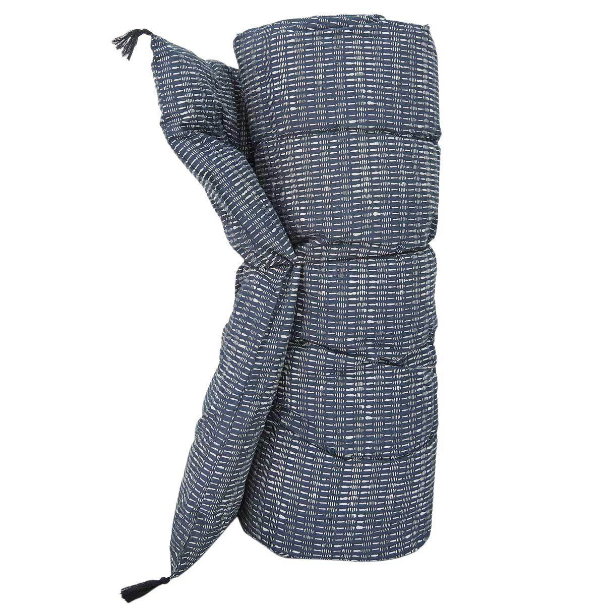 Edredon sur-matelas coton imprimé bleu