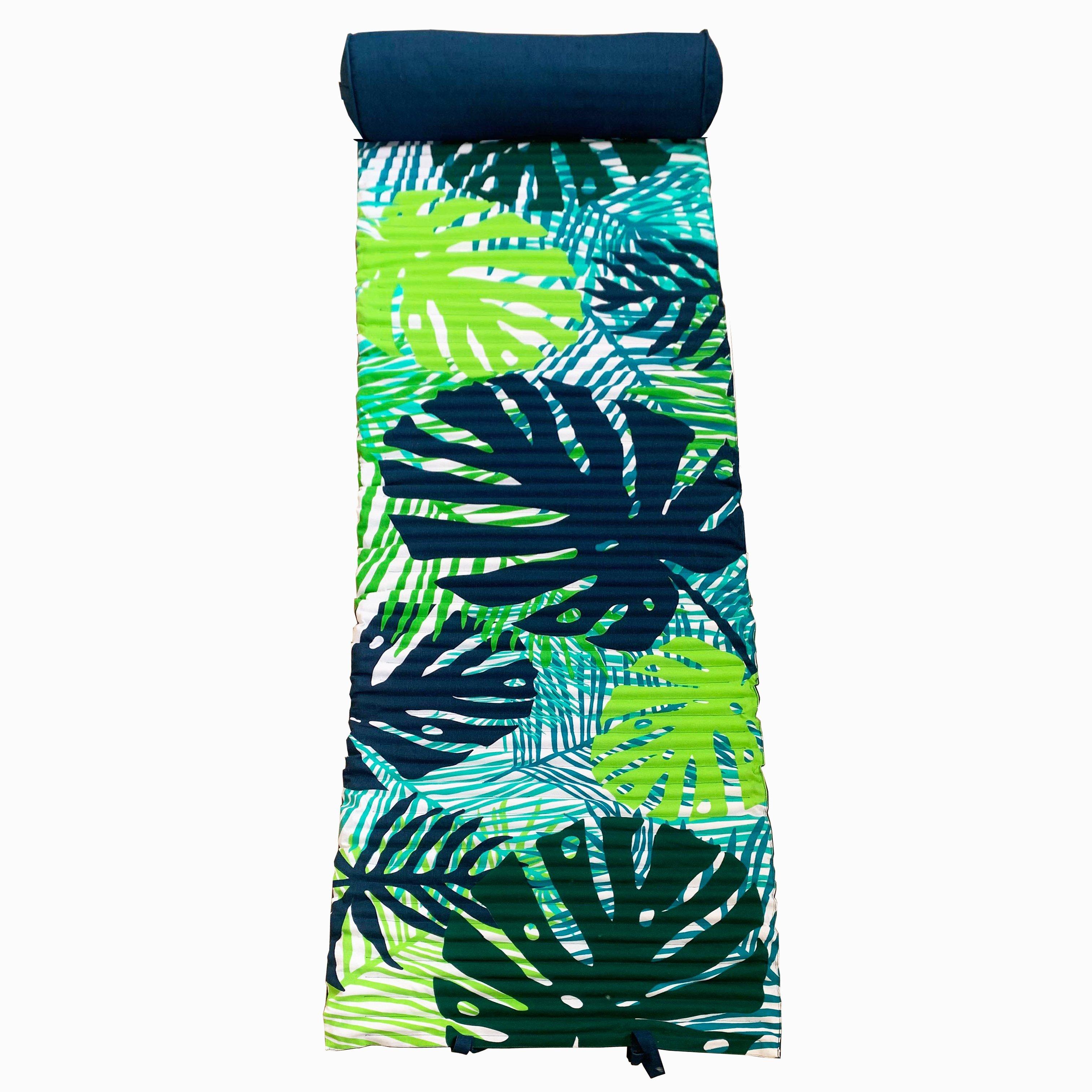 Matelas de plage pour bain de soleil vert tropical leaves 60 x 180