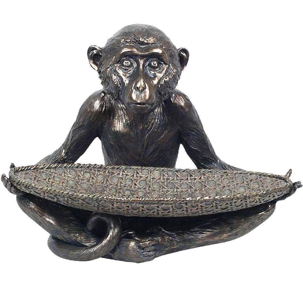 Coupelle statuette singe en résine L31cm (photo)