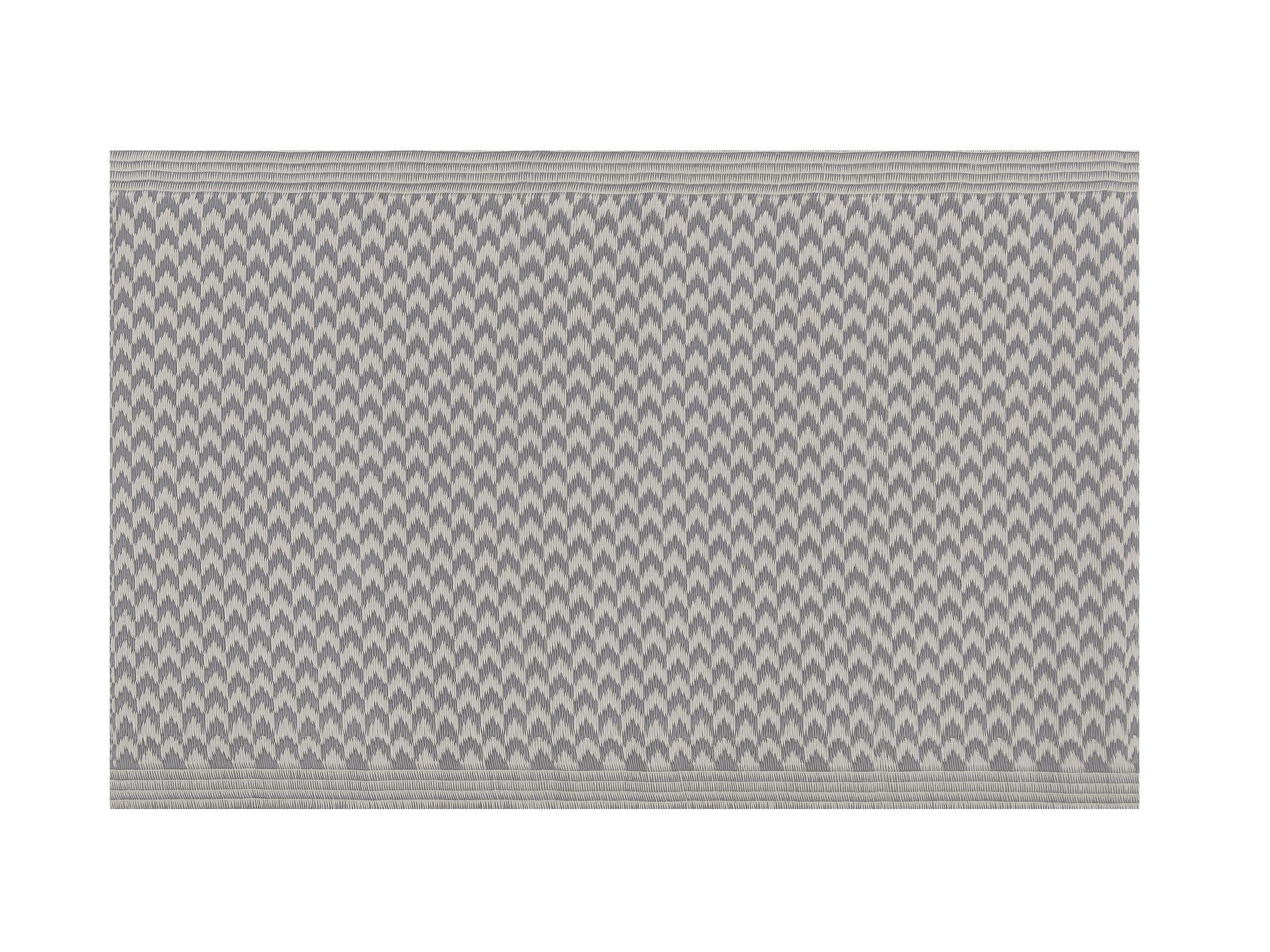 Tapis extérieur au motif zigzag gris 60 x 90 cm
