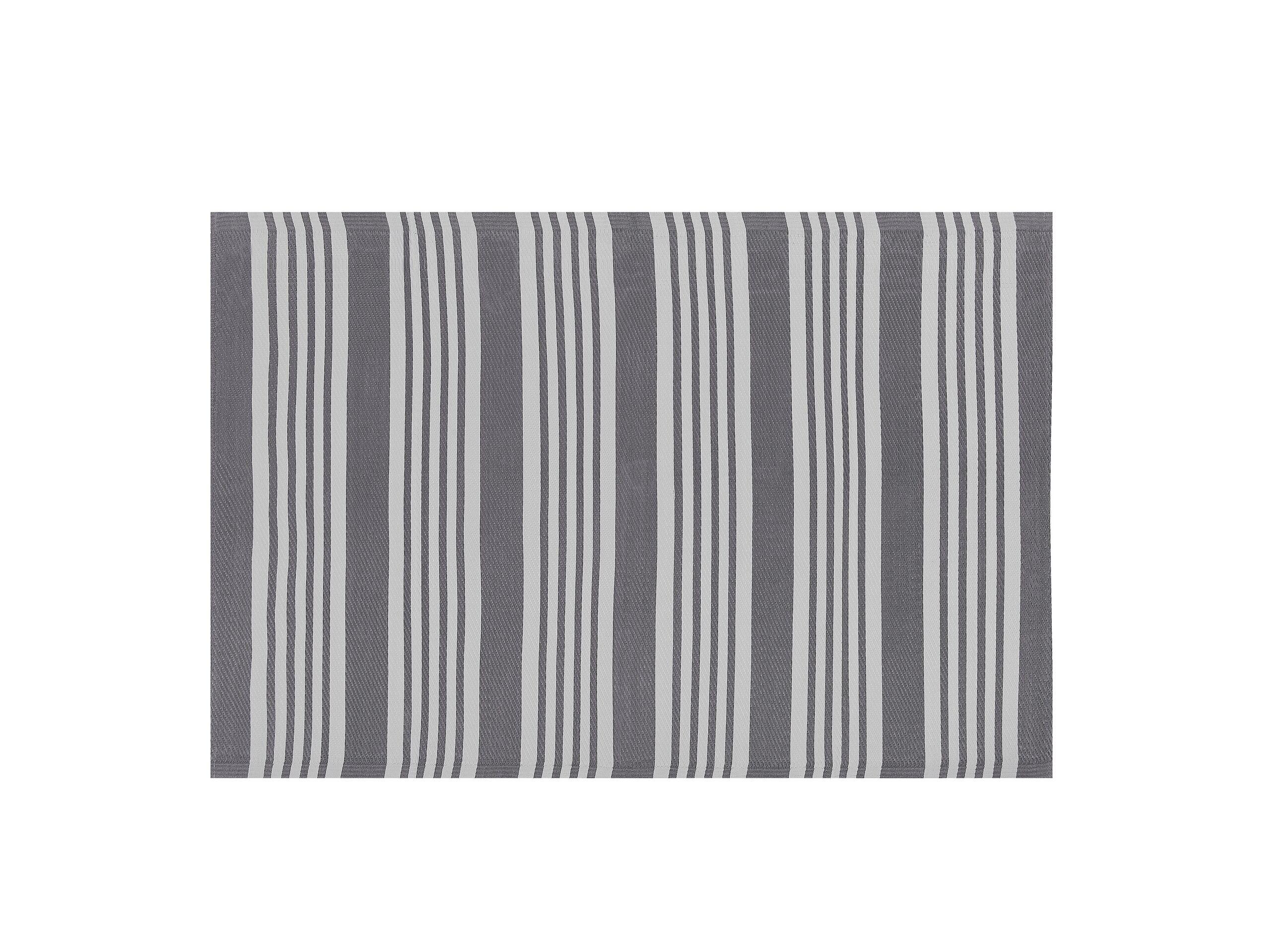 Tapis extérieur à rayures grises 120 x 180 cm