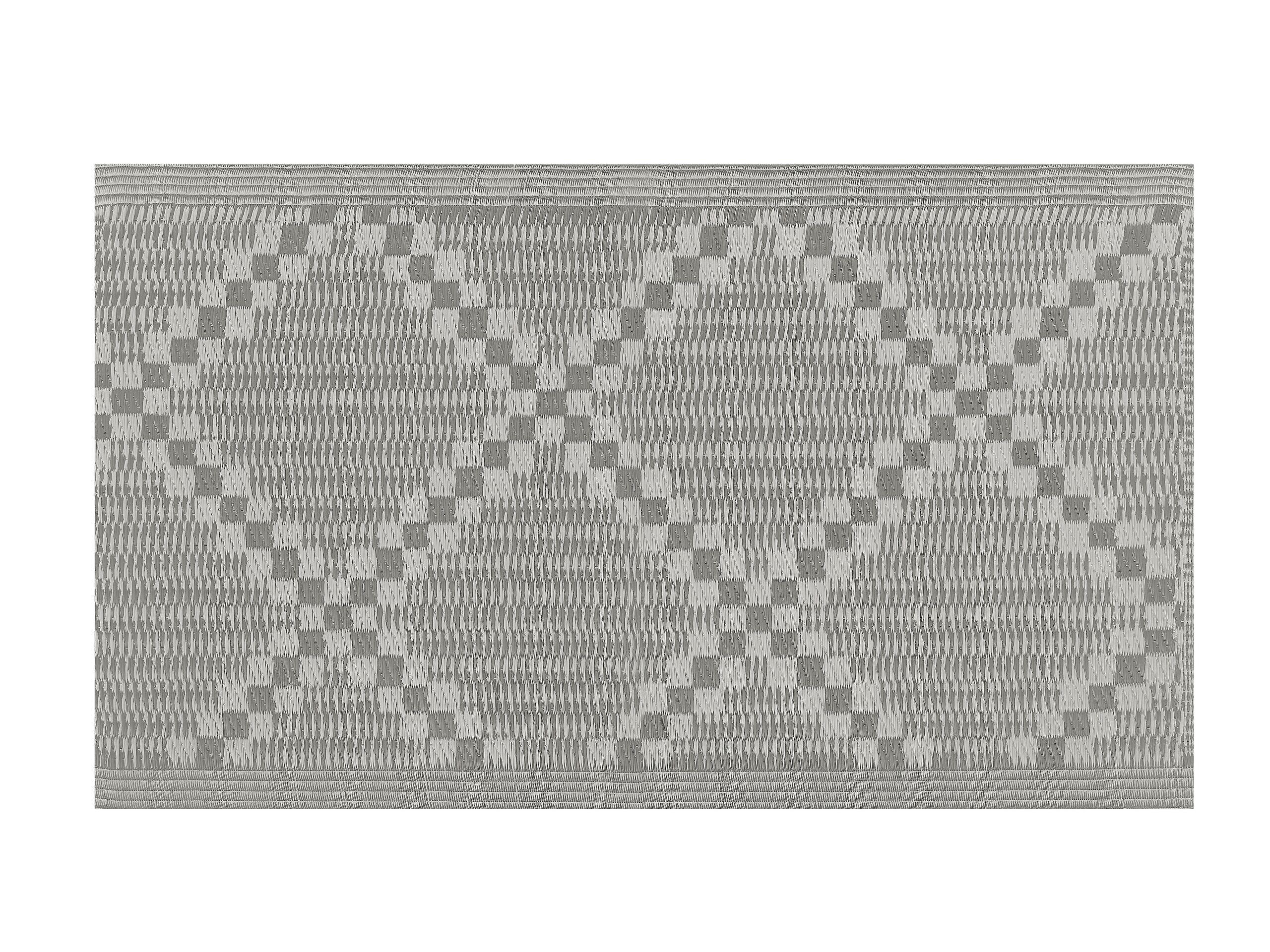 Tapis extérieur gris au motif à carreaux 60 x 105 cm