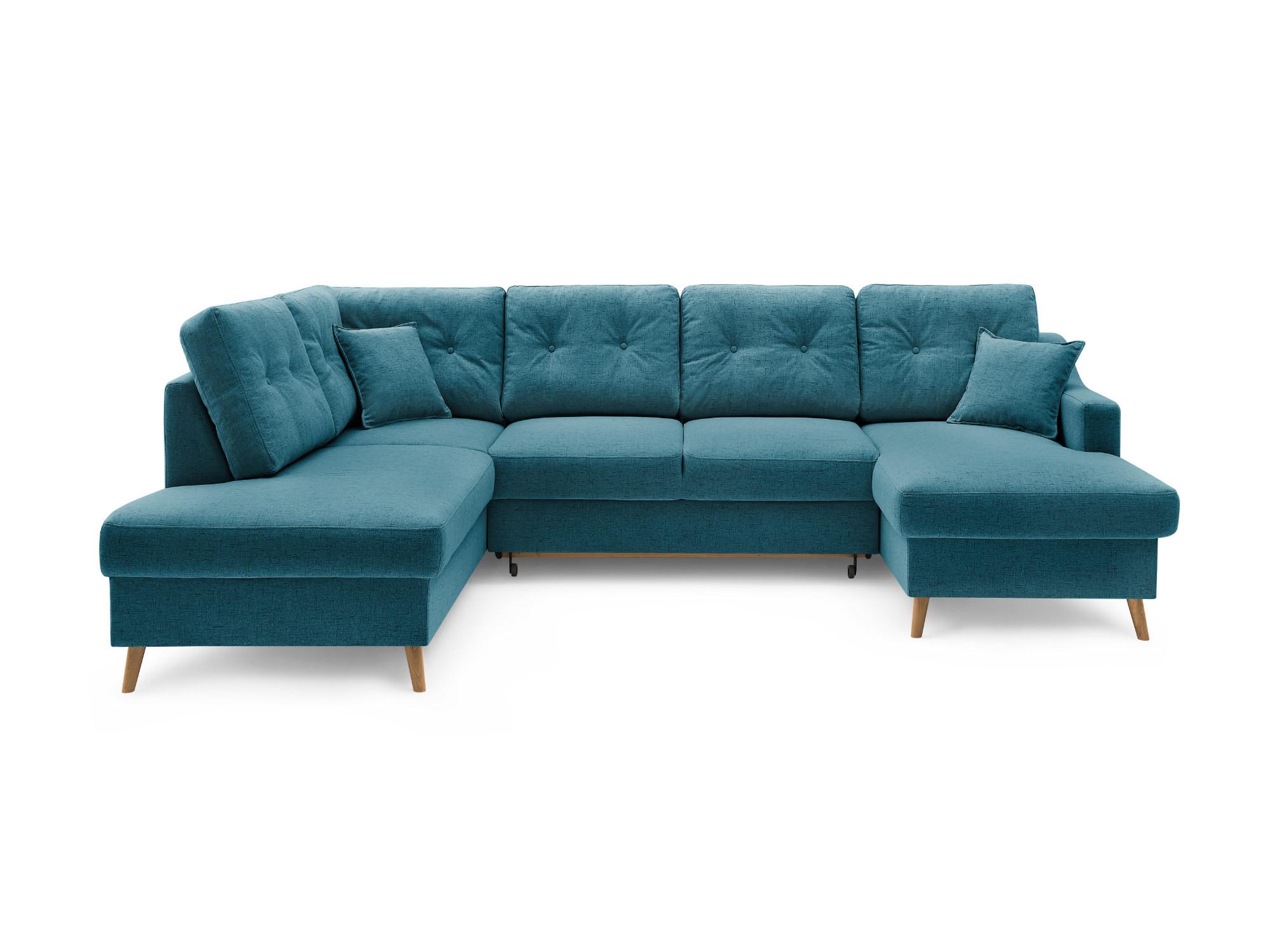 Canapé panoramique Angle gauche 7 places Tissu Bleu canard