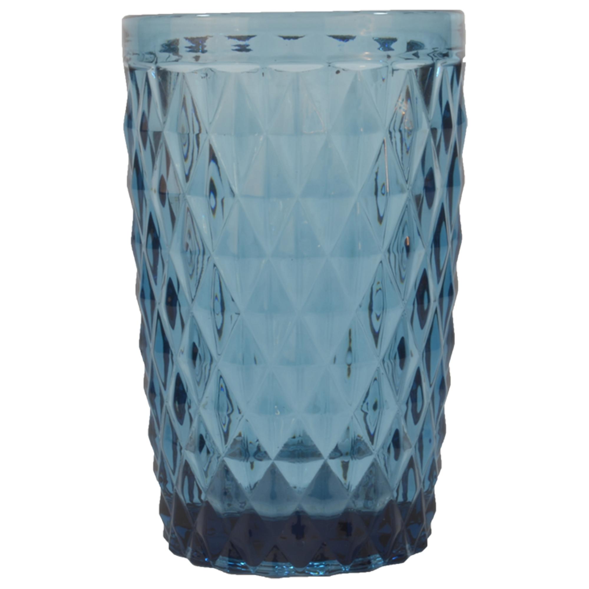 Chope en verre pressé bleu 34 cl - Lot de 6