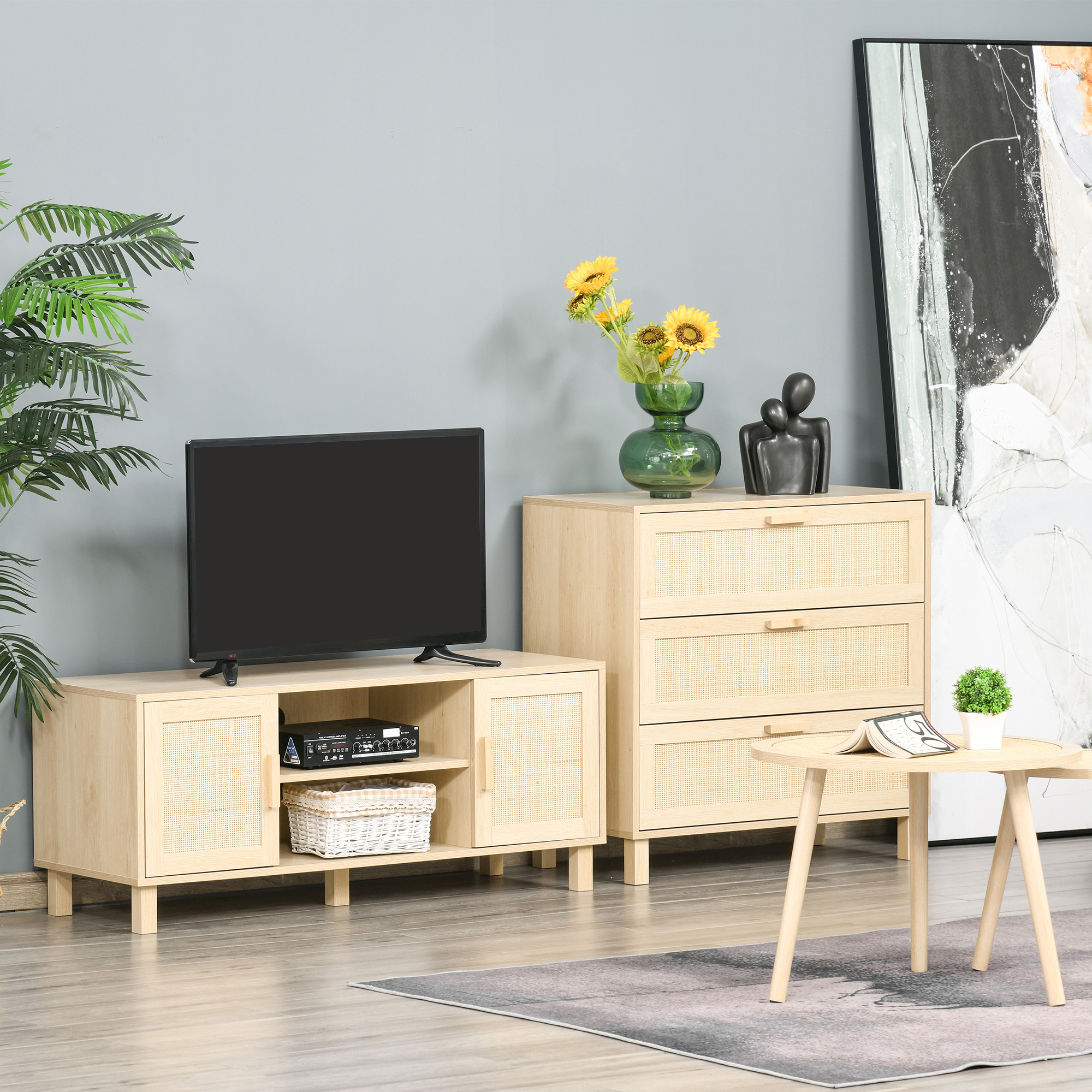 Meuble TV cannage rotin panneau de fibres moyenne densité bois clair