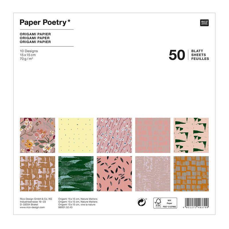 50 feuilles pour origami nature 15x15cm