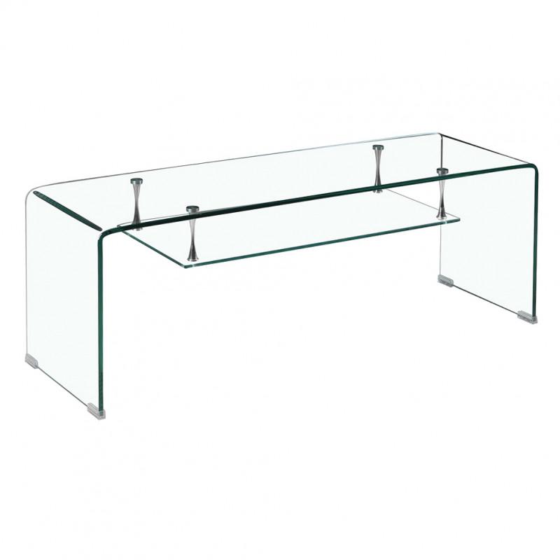 Meuble tv en verre transparent avec étagère suspendue