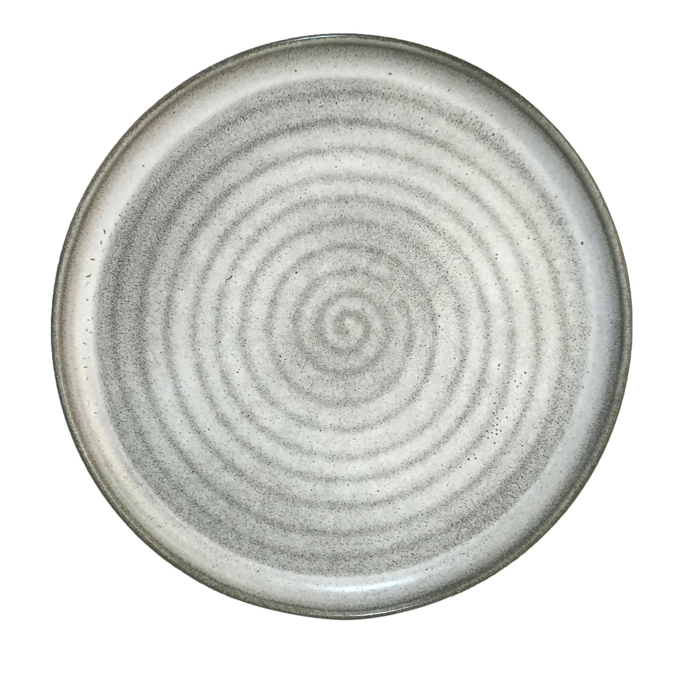 Krasilnikoff Gâteau Assiette Diagonal Gris Clair Porcelaine Assiette Blanc Gris 20 cm