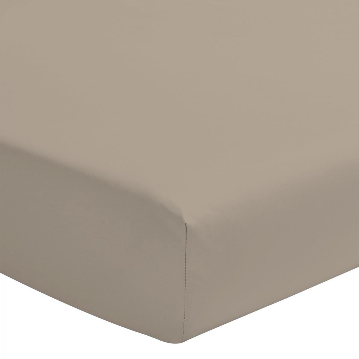 Drap Housse Uni 100% Coton Bonnet 25cm Beige Foncé 180x200cm