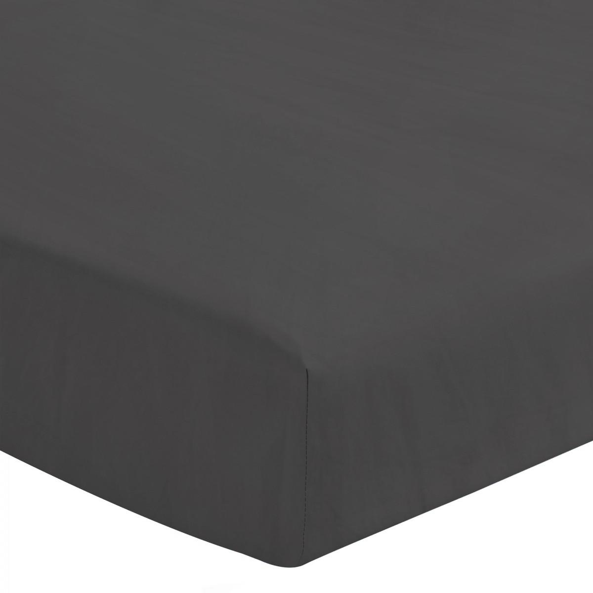 Drap Housse Uni 100% Coton Bonnet 25cm Gris Foncé 180x200cm