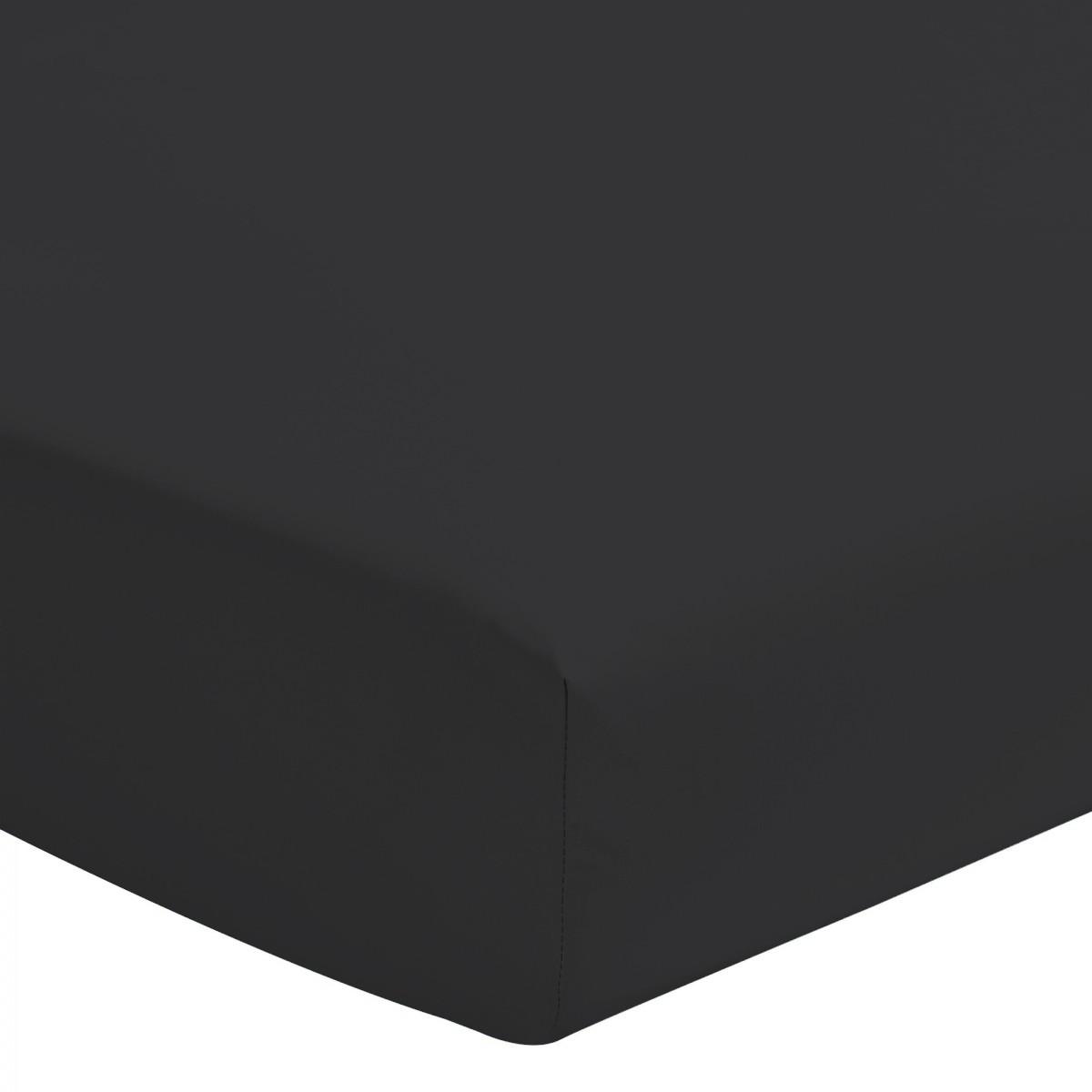 Drap Housse Uni 100% Coton Bonnet 25cm Noir 180x200cm