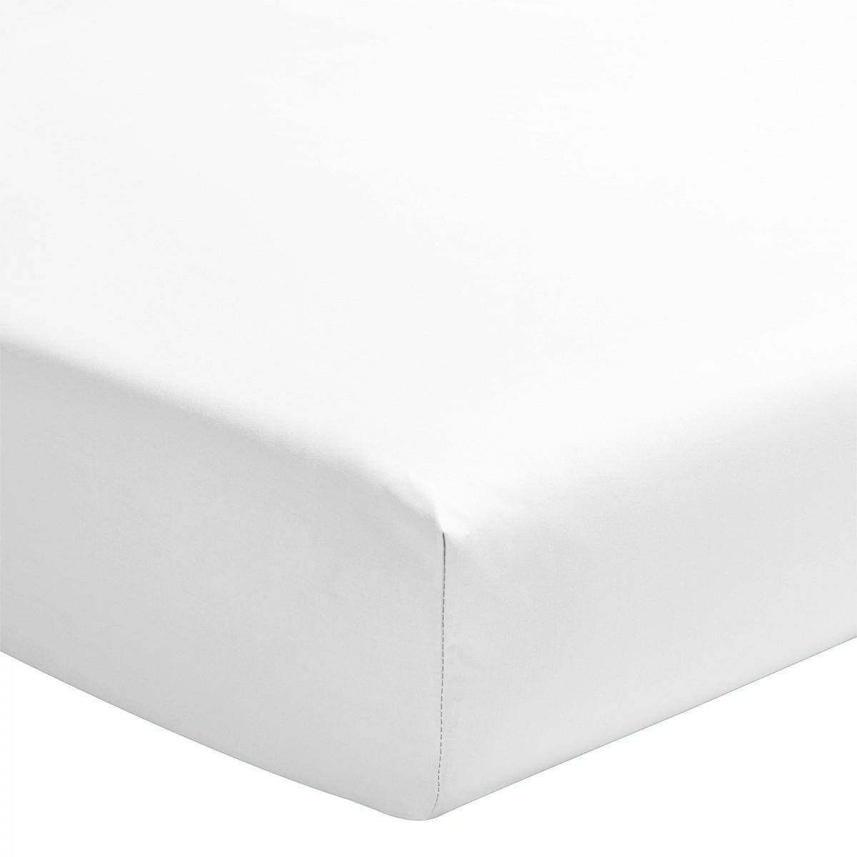 Drap Housse Uni 100% Coton Bonnet 25cm Blanc 160x200cm