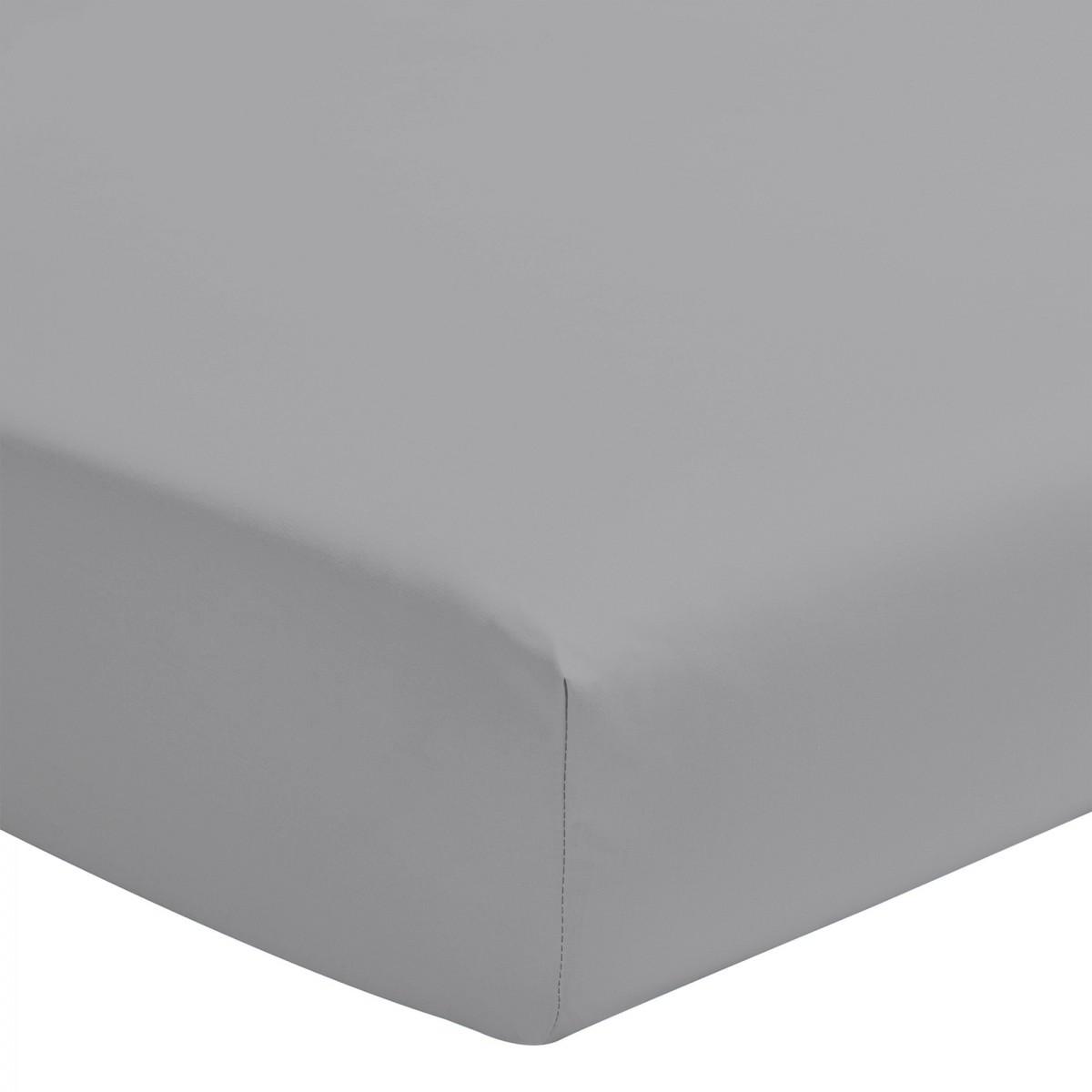 Drap Housse Uni 100% Coton Bonnet 25cm Gris Clair 180x200cm