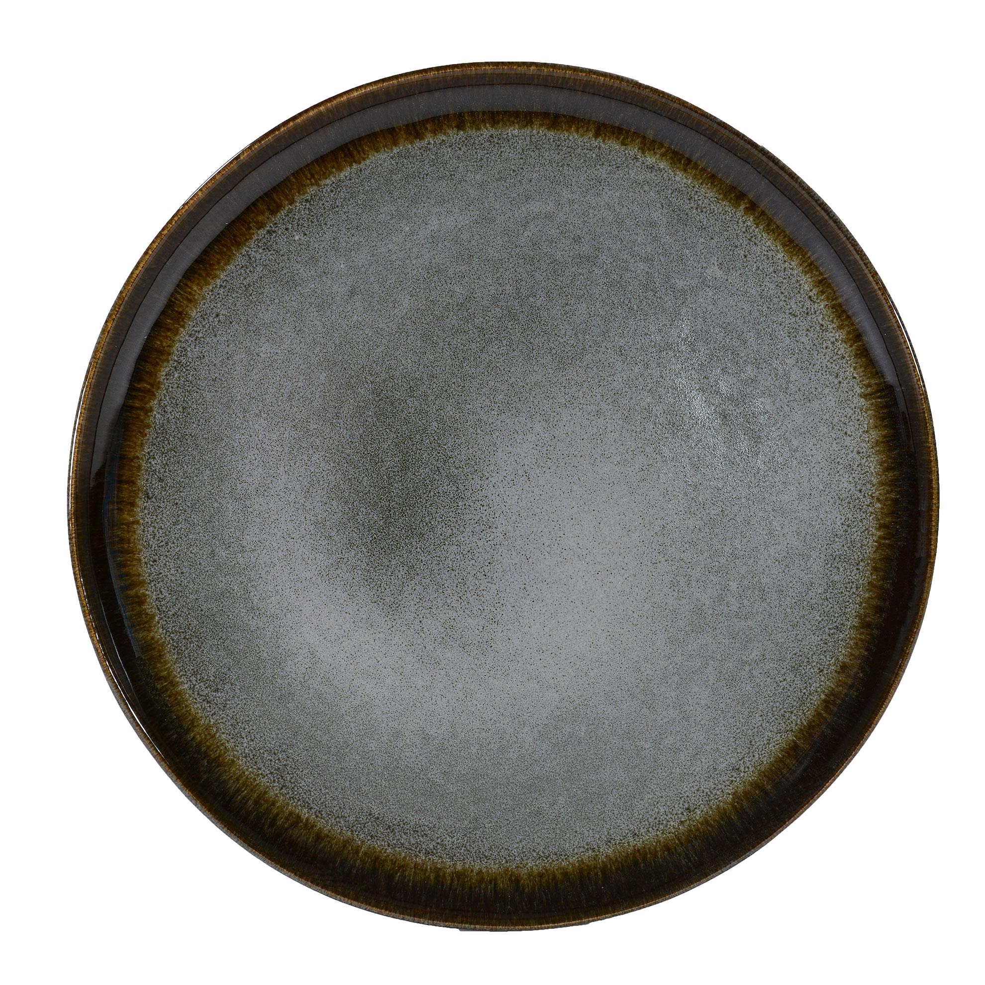 Assiette plate en grès artisanal gris 27 cm - Lot de 4