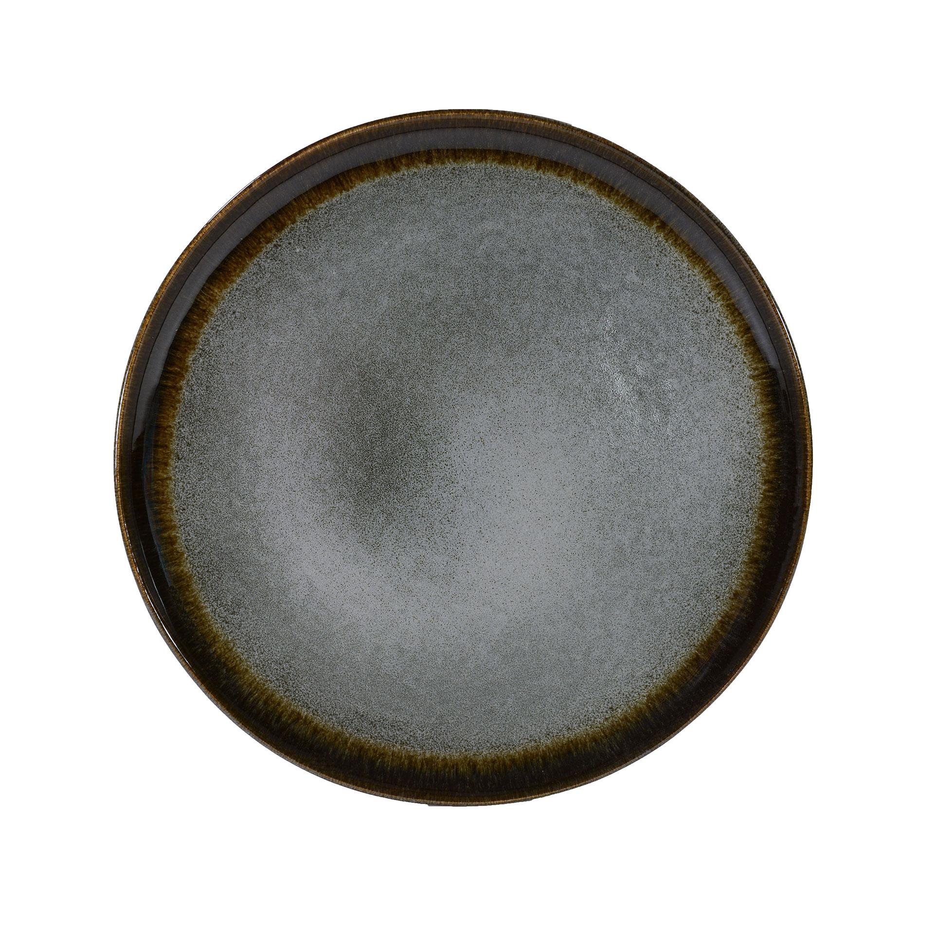 Assiette dessert en grès artisanal gris 20 cm - Lot de 6