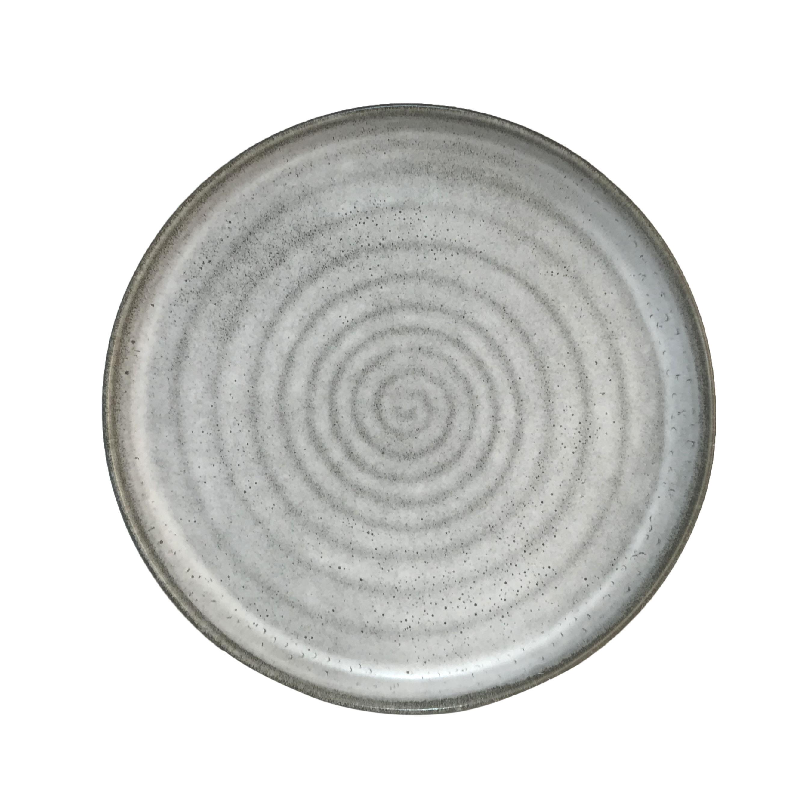 Assiette plate en porcelaine gris 23 cm - Lot de 3