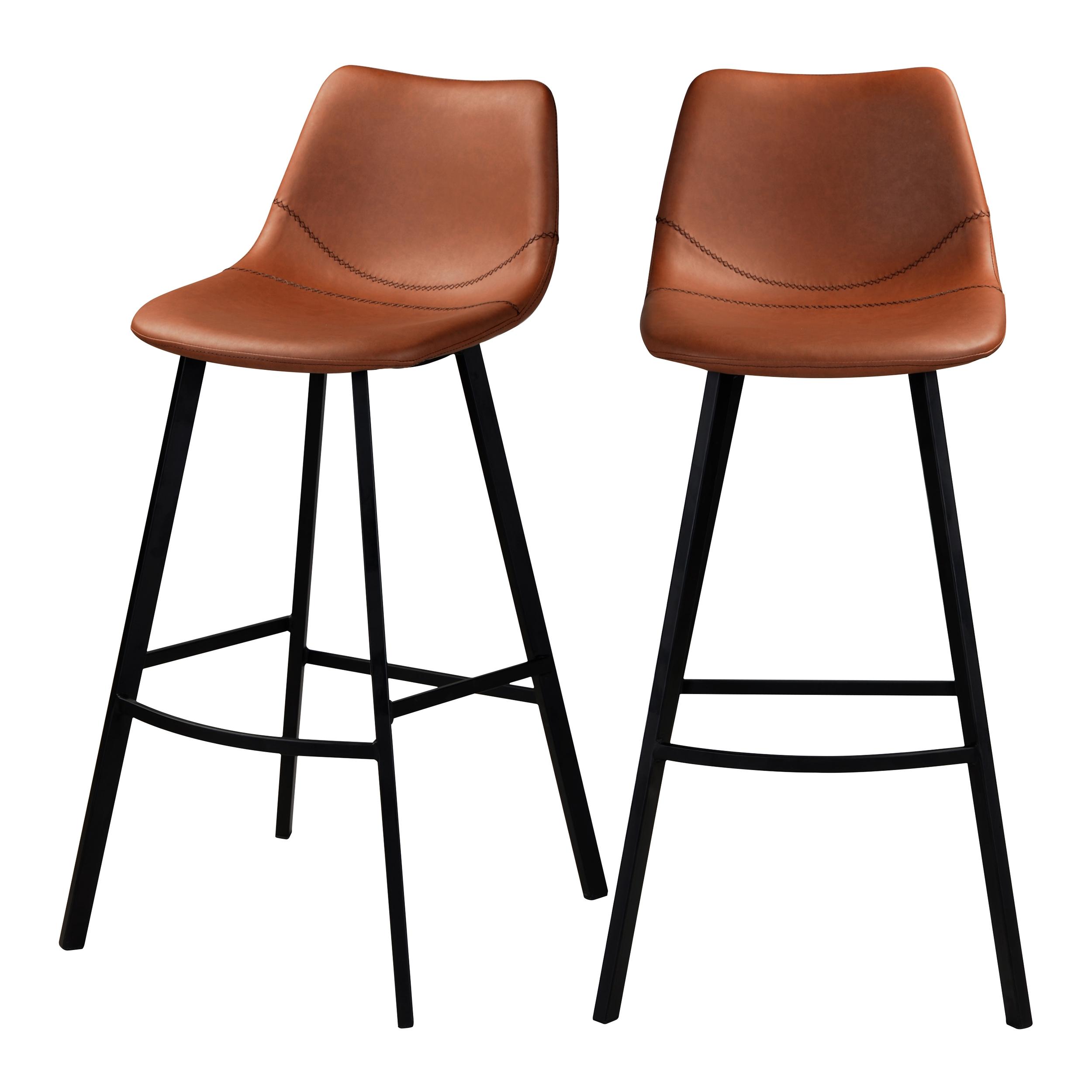 Chaise de bar 80 cm en cuir synthétique marron (lot de 2)